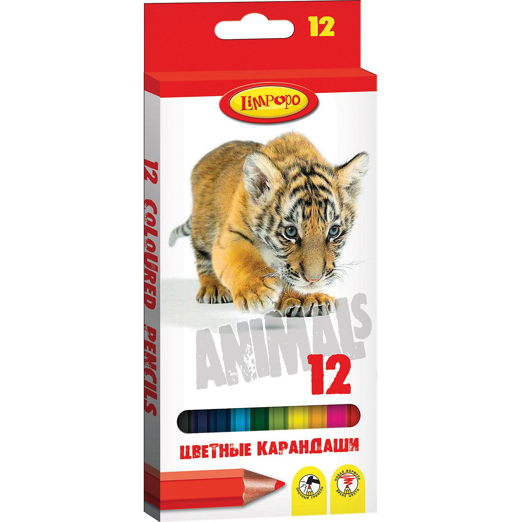 Карандаши цветные Хищники, 12 цветовРисование<br>Набор цветных карандашей Limpopo Хищники - помогут развить юным художникам творческие способности, цветовое восприятие, фантазию и воображение.  Цветные карандаши Limpopo обладают яркими и сочными цветами, при изготовлении грифеля используется  пигмент высокого качества, который обеспечивает мягкое письмо и подарит насыщенность оттенков и настоящую радость творчества. Мягкий ударопрочный грифель не ломается при падении и легко затачивается любым видом точилки. Карандаши Limpopo имеют удобный эргономичный шестигранный  корпус, благодаря которому карандаши не будут скатываться со стола. Специальное покрытие корпуса цветных карандашей уменьшает скольжение, что делает процесс рисования максимально комфортным.<br><br>Ширина мм: 8<br>Глубина мм: 2<br>Высота мм: 89<br>Вес г: 77<br>Возраст от месяцев: 36<br>Возраст до месяцев: 180<br>Пол: Унисекс<br>Возраст: Детский<br>SKU: 5525044