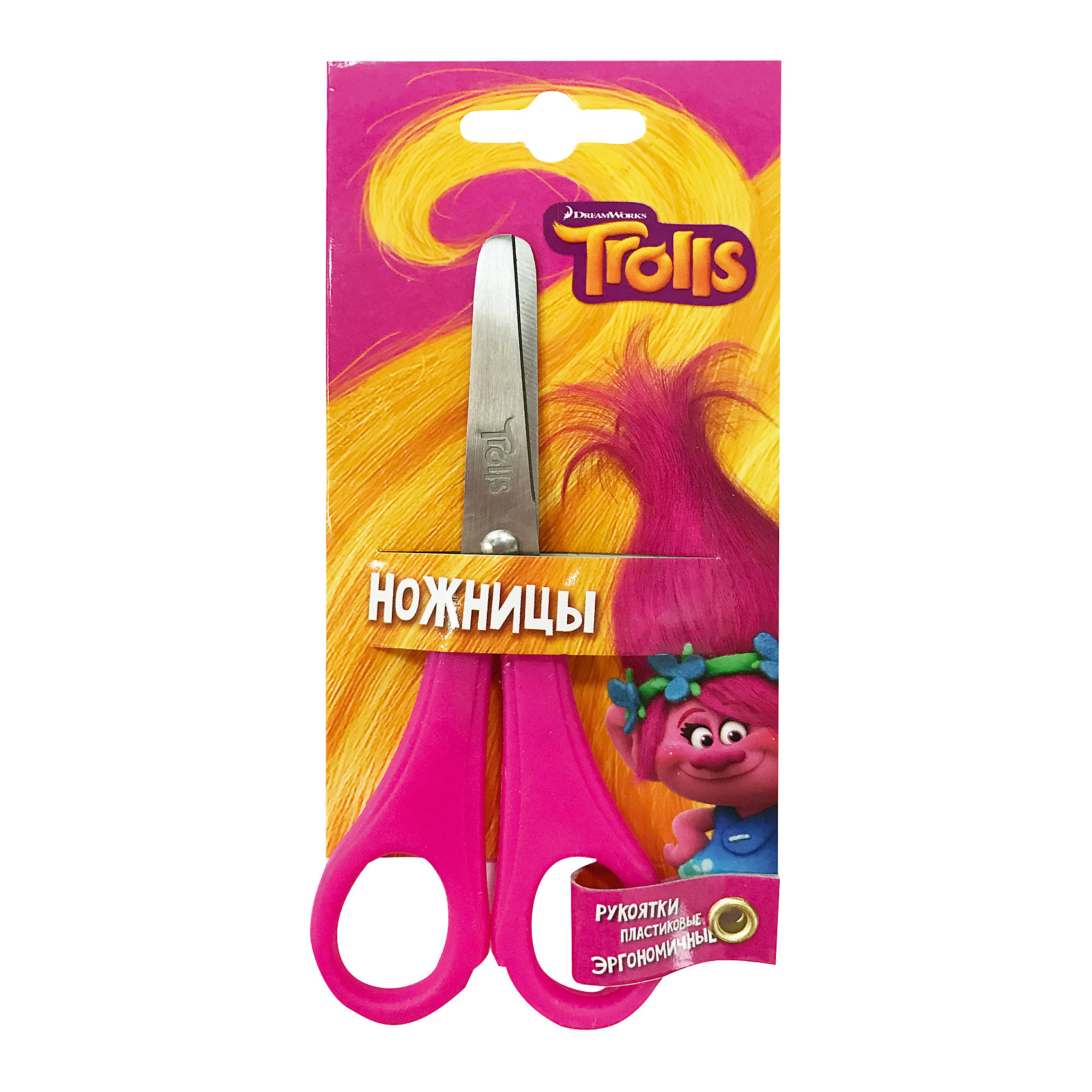 Детские ножницы 13 см, с блистером TrollsШкольные аксессуары<br>Детские ножницы 13 см, с блистером. Блистер открытый. Можно проверить работу ножниц не доставая из упаковки. Пластиковые ручки, безопасно скругленные лезвия, с дизайном Trolls<br><br>Ширина мм: 16<br>Глубина мм: 1<br>Высота мм: 70<br>Вес г: 27<br>Возраст от месяцев: 36<br>Возраст до месяцев: 144<br>Пол: Унисекс<br>Возраст: Детский<br>SKU: 5525065