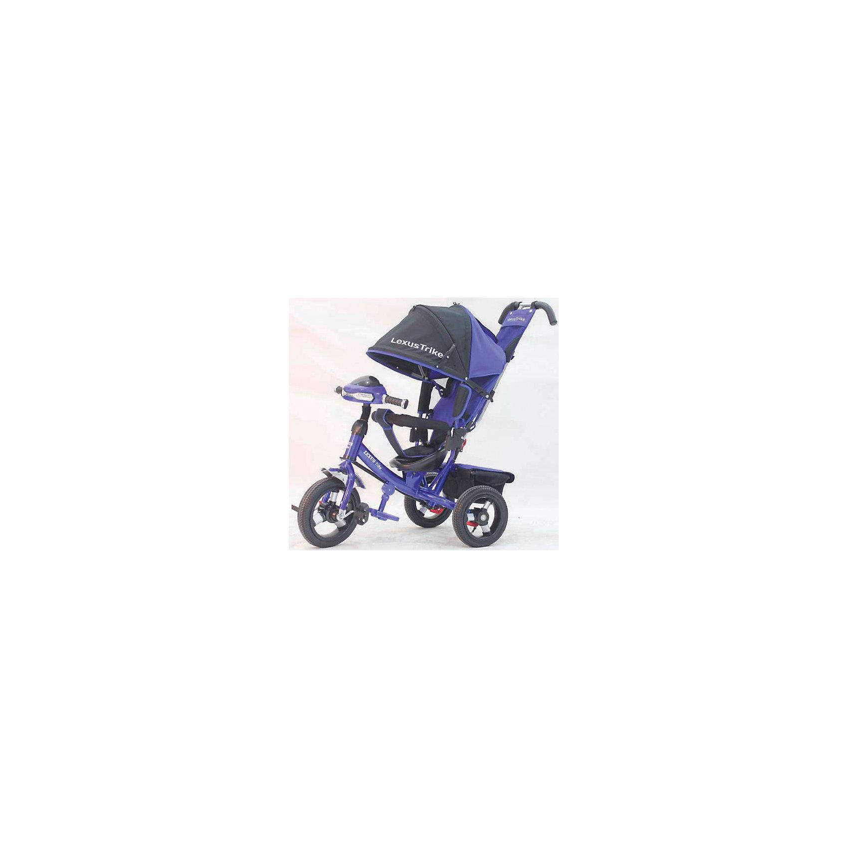 Трехколесный велосипед, со светом и звуком, синий, Lexus Trike LX- надувные резиновые колеса с алюминиевыми спицами и металлическими втулками передние 30 см (12) с функцией свободного хода, задние 25 см (10), - двойная телескопическая родительская ручка с мягкими рукоятками из пористой резины и сумочкой, - спинка с регулируемым углом наклона (3 положения), - складная подставкя для ног; - складной и съемный тент колясочного типа с фиксаторами положения и окошком, - покрытое мягкой тканью сидение с двухточечным ремнем безопасности, - подголовник на спинке, - стопоры задних колёс, - регулируемая поворотная рычаг-спица, - раздвижная дуга безопасности с мягкими подлокотниками из пористой резины, - багажная корзина с крышкой, - игровая панель со световыми и звуковыми эффектами, синий, - цветная коробка.<br><br>Ширина мм: 810<br>Глубина мм: 470<br>Высота мм: 1100<br>Вес г: 13800<br>Возраст от месяцев: 12<br>Возраст до месяцев: 36<br>Пол: Унисекс<br>Возраст: Детский<br>SKU: 5526359