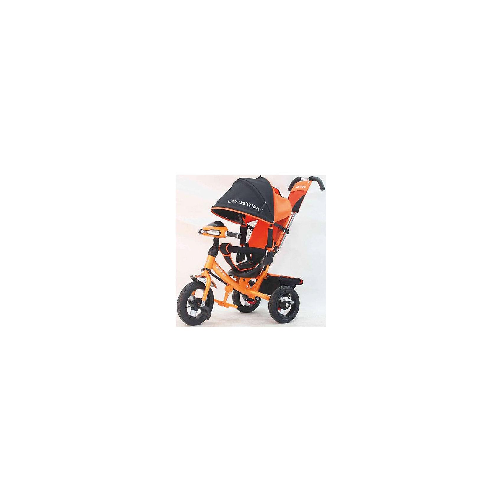 Трехколесный велосипед, со светом и звуком, оранжевый-черный, Lexus Trike LXнадувные резиновые колеса с алюминиевыми спицами и металлическими втулками передние 30 см (12) с функцией свободного хода, задние 25 см (10), - двойная телескопическая родительская ручка с мягкими рукоятками из пористой резины и сумочкой, - спинка с регулируемым углом наклона (3 положения), - складная подставкя для ног; - складной и съемный тент колясочного типа с фиксаторами положения и окошком, - покрытое мягкой тканью сидение с двухточечным ремнем безопасности, - подголовник на спинке, - стопоры задних колёс, - регулируемая поворотная рычаг-спица, - раздвижная дуга безопасности с мягкими подлокотниками из пористой резины, - багажная корзина с крышкой, - игровая панель со световыми и звуковыми эффектами, оранжевый-черный, - цветная коробка.<br><br>Ширина мм: 810<br>Глубина мм: 470<br>Высота мм: 1100<br>Вес г: 13800<br>Возраст от месяцев: 12<br>Возраст до месяцев: 36<br>Пол: Унисекс<br>Возраст: Детский<br>SKU: 5526361