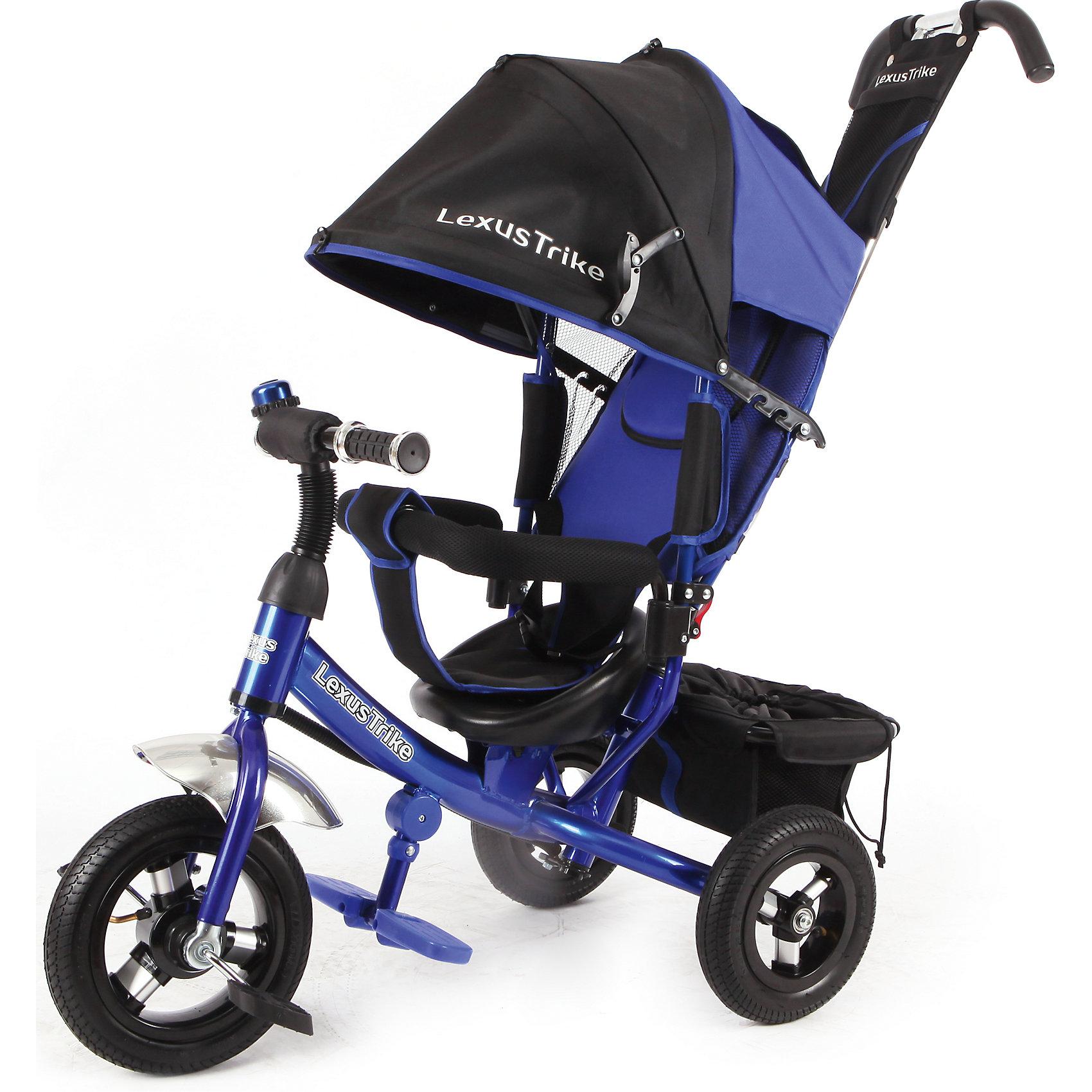 Трехколесный велосипед, регулир. спинка, синий, Lexus Trike LTнадувные резиновые колеса с алюминиевыми спицами и металлическими втулками передние 25 см (10) с функцией свободного хода, задние 20 см (8), - двойная телескопическая родительская ручка с мягкими рукоятками из пористой резины и сумочкой, - спинка с регулируемым углом наклона (3 положения), - складная подставкя для ног; - складной тент колясочного типа с фиксаторами положения и окошком, - сидение с двухточечным ремнем безопасности и мягкой вкладкой, - подголовник на спинке, - стопоры задних колёс, - регулируемая поворотная рычаг-спица, - раздвижная дуга безопасности с мягкими подлокотниками из пористой резины, - багажная корзина с затягивающимся верхом, - звонок на руле, синий, - цветная коробка<br><br>Ширина мм: 810<br>Глубина мм: 470<br>Высота мм: 1100<br>Вес г: 12800<br>Возраст от месяцев: 12<br>Возраст до месяцев: 36<br>Пол: Мужской<br>Возраст: Детский<br>SKU: 5526364