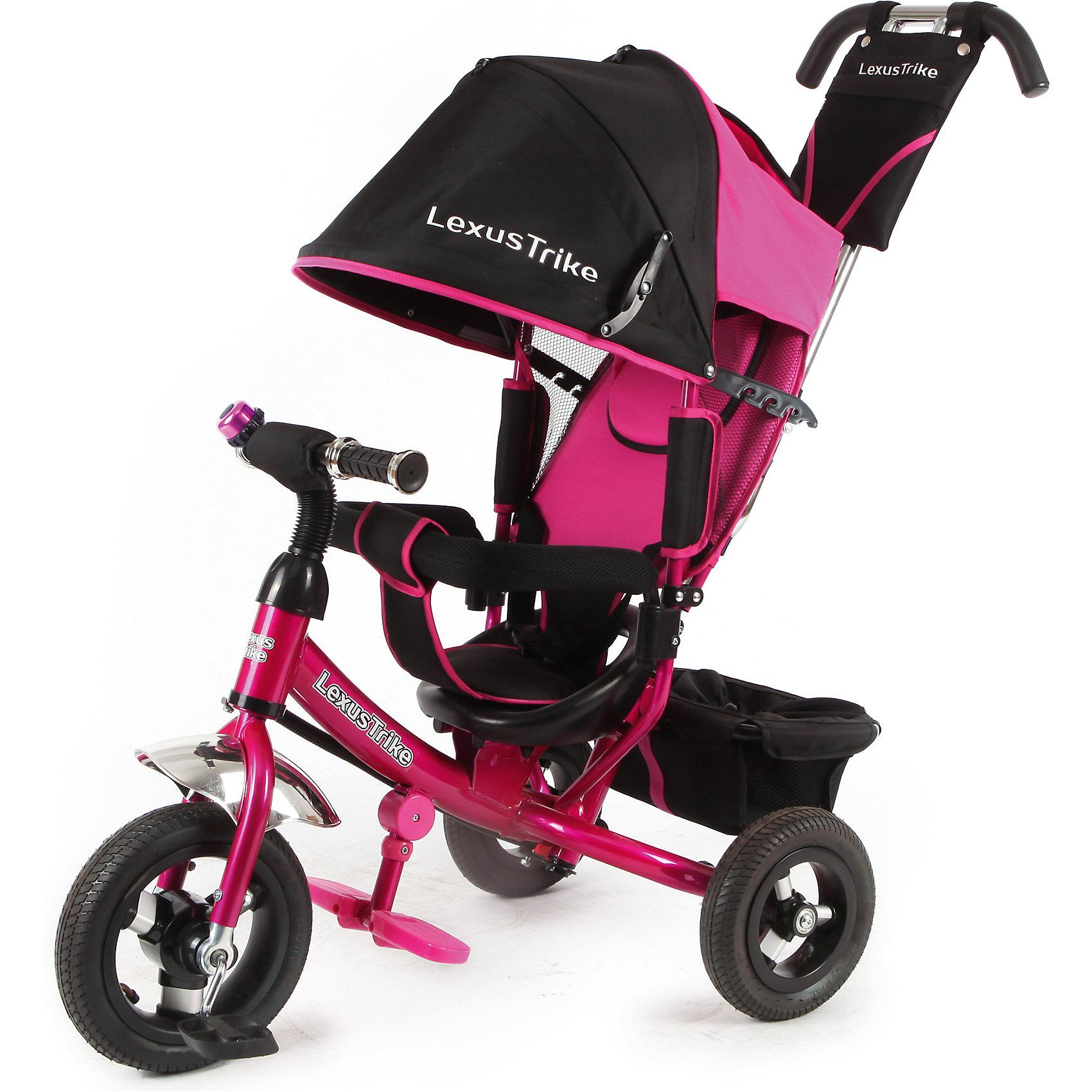 Трехколесный велосипед, регулир. спинка, розовый, Lexus Trike LTнадувные резиновые колеса с алюминиевыми спицами и металлическими втулками передние 25 см (10) с функцией свободного хода, задние 20 см (8), - двойная телескопическая родительская ручка с мягкими рукоятками из пористой резины и сумочкой, - спинка с регулируемым углом наклона (3 положения), - складная подставкя для ног; - складной тент колясочного типа с фиксаторами положения и окошком, - сидение с двухточечным ремнем безопасности и мягкой вкладкой, - подголовник на спинке, - стопоры задних колёс, - регулируемая поворотная рычаг-спица, - раздвижная дуга безопасности с мягкими подлокотниками из пористой резины, - багажная корзина с затягивающимся верхом, - звонок на руле, розовый, - цветная коробка<br><br>Ширина мм: 810<br>Глубина мм: 470<br>Высота мм: 1100<br>Вес г: 12800<br>Возраст от месяцев: 12<br>Возраст до месяцев: 36<br>Пол: Женский<br>Возраст: Детский<br>SKU: 5526366