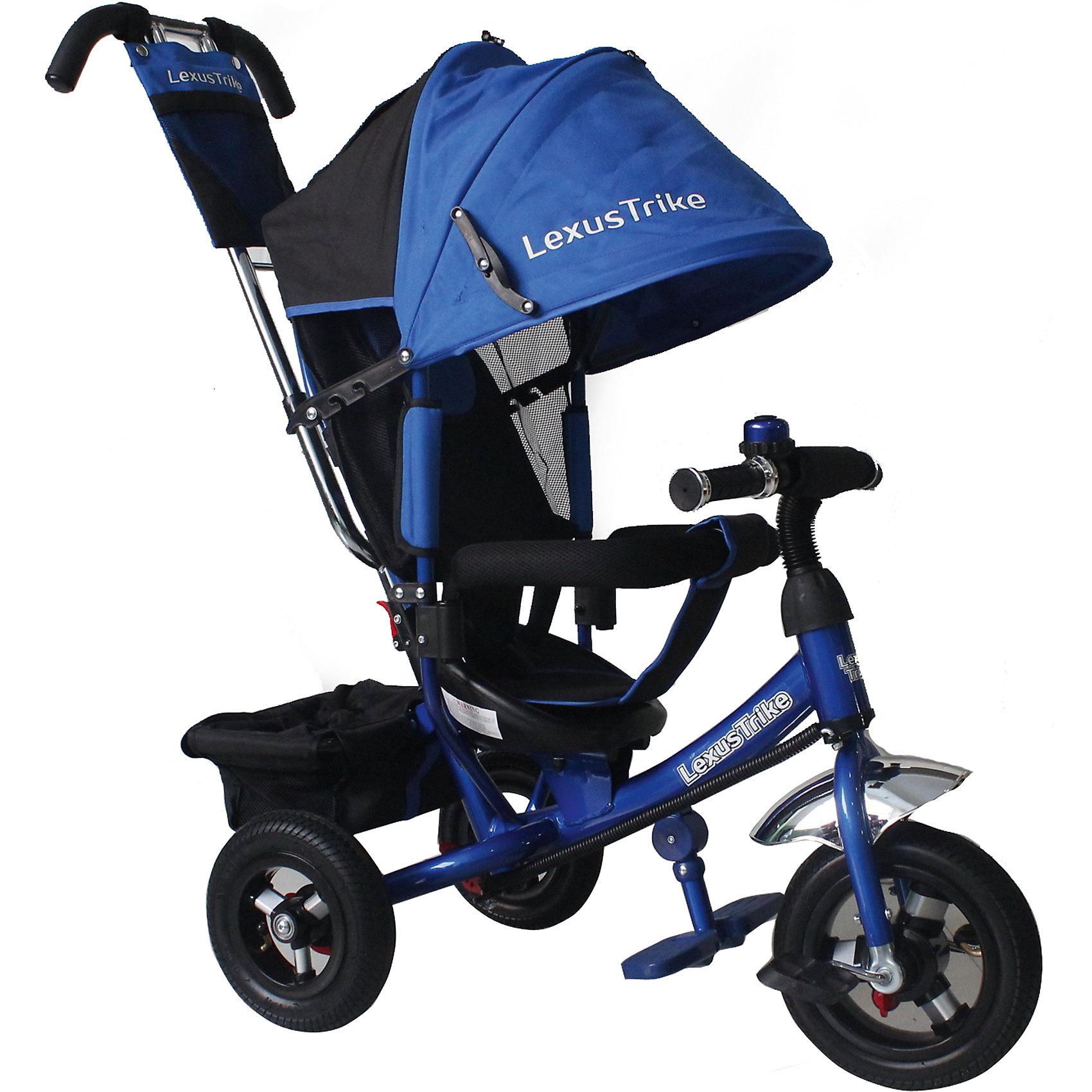 Трехколесный велосипед, регулир. спинка, синий, Lexus Trike LTнадувные резиновые колеса с алюминиевыми спицами и металлическими втулками передние 25 см (10) с функцией свободного хода, задние 20 см (8), - двойная телескопическая родительская ручка с мягкими рукоятками из пористой резины и сумочкой, - спинка с регулируемым углом наклона (3 положения), - складная подставкя для ног; - складной тент колясочного типа с фиксаторами положения и окошком, - сидение с двухточечным ремнем безопасности и мягкой вкладкой, - подголовник на спинке, - стопоры задних колёс, - регулируемая поворотная рычаг-спица, - раздвижная дуга безопасности с мягкими подлокотниками из пористой резины, - багажная корзина с затягивающимся верхом, - звонок на руле, синий, - цветная коробка<br><br>Ширина мм: 810<br>Глубина мм: 470<br>Высота мм: 1100<br>Вес г: 12800<br>Возраст от месяцев: 12<br>Возраст до месяцев: 36<br>Пол: Мужской<br>Возраст: Детский<br>SKU: 5526368