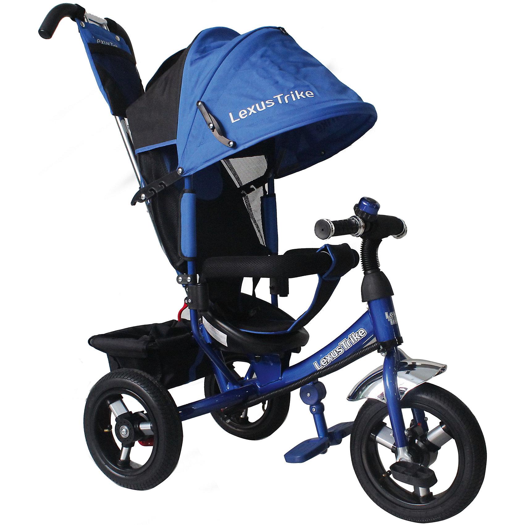 Трехколесный велосипед, регулир. спинка,синий, Lexus Trike LRнадувные резиновые колеса с алюминиевыми спицами и металлическими втулками передние 30 см (12) с функцией свободного хода, задние 25 см (10), - двойная телескопическая родительская ручка с мягкими рукоятками из пористой резины и сумочкой, - спинка с регулируемым углом наклона (3 положения), - складная подставкя для ног; - складной тент колясочного типа с фиксаторами положения и окошком, - сидение с двухточечным ремнем безопасности и мягкой вкладкой, - подголовник на спинке, - стопоры задних колёс, - регулируемая поворотная рычаг-спица, - раздвижная дуга безопасности с мягкими подлокотниками из пористой резины, - багажная корзина с затягивающимся верхом, - звонок на руле, синий, - цветная коробка<br><br>Ширина мм: 810<br>Глубина мм: 470<br>Высота мм: 1100<br>Вес г: 13300<br>Возраст от месяцев: 12<br>Возраст до месяцев: 36<br>Пол: Мужской<br>Возраст: Детский<br>SKU: 5526369