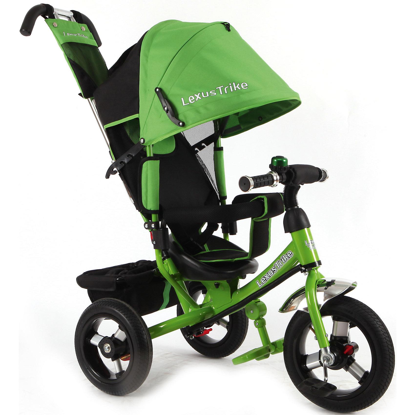 Трехколесный велосипед, регулир. спинка,зеленый,  Lexus Trike LRнадувные резиновые колеса с алюминиевыми спицами и металлическими втулками передние 30 см (12) с функцией свободного хода, задние 25 см (10), - двойная телескопическая родительская ручка с мягкими рукоятками из пористой резины и сумочкой, - спинка с регулируемым углом наклона (3 положения), - складная подставкя для ног; - складной тент колясочного типа с фиксаторами положения и окошком, - сидение с двухточечным ремнем безопасности и мягкой вкладкой, - подголовник на спинке, - стопоры задних колёс, - регулируемая поворотная рычаг-спица, - раздвижная дуга безопасности с мягкими подлокотниками из пористой резины, - багажная корзина с затягивающимся верхом, - звонок на руле, зеленый, - цветная коробка<br><br>Ширина мм: 810<br>Глубина мм: 470<br>Высота мм: 1100<br>Вес г: 13300<br>Возраст от месяцев: 12<br>Возраст до месяцев: 36<br>Пол: Унисекс<br>Возраст: Детский<br>SKU: 5526370