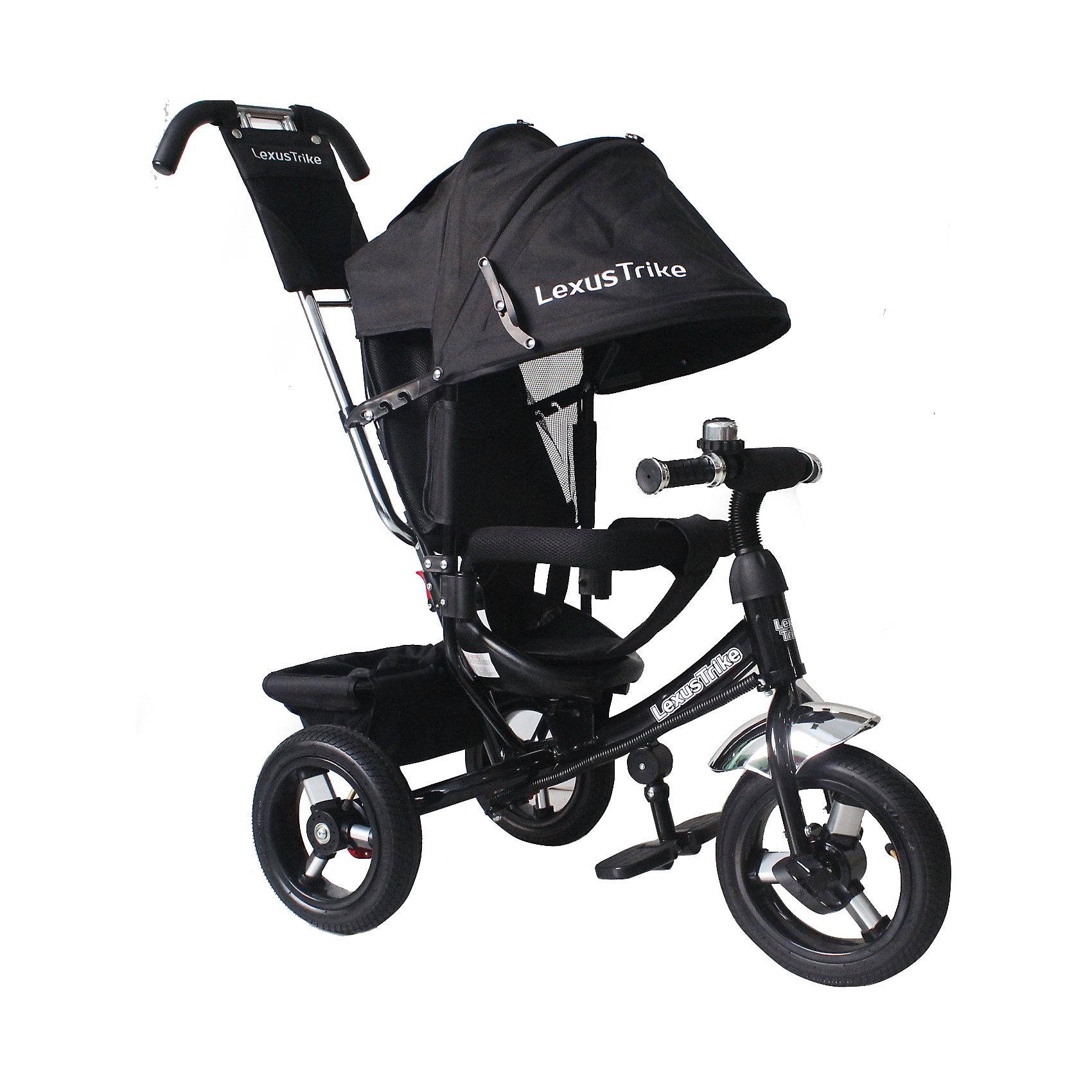 Трехколесный велосипед, регулир. спинка,черный, Lexus Trike LRнадувные резиновые колеса с алюминиевыми спицами и металлическими втулками передние 30 см (12) с функцией свободного хода, задние 25 см (10), - двойная телескопическая родительская ручка с мягкими рукоятками из пористой резины и сумочкой, - спинка с регулируемым углом наклона (3 положения), - складная подставкя для ног; - складной тент колясочного типа с фиксаторами положения и окошком, - сидение с двухточечным ремнем безопасности и мягкой вкладкой, - подголовник на спинке, - стопоры задних колёс, - регулируемая поворотная рычаг-спица, - раздвижная дуга безопасности с мягкими подлокотниками из пористой резины, - багажная корзина с затягивающимся верхом, - звонок на руле, черный, - цветная коробка<br><br>Ширина мм: 810<br>Глубина мм: 470<br>Высота мм: 1100<br>Вес г: 13300<br>Возраст от месяцев: 12<br>Возраст до месяцев: 36<br>Пол: Мужской<br>Возраст: Детский<br>SKU: 5526371