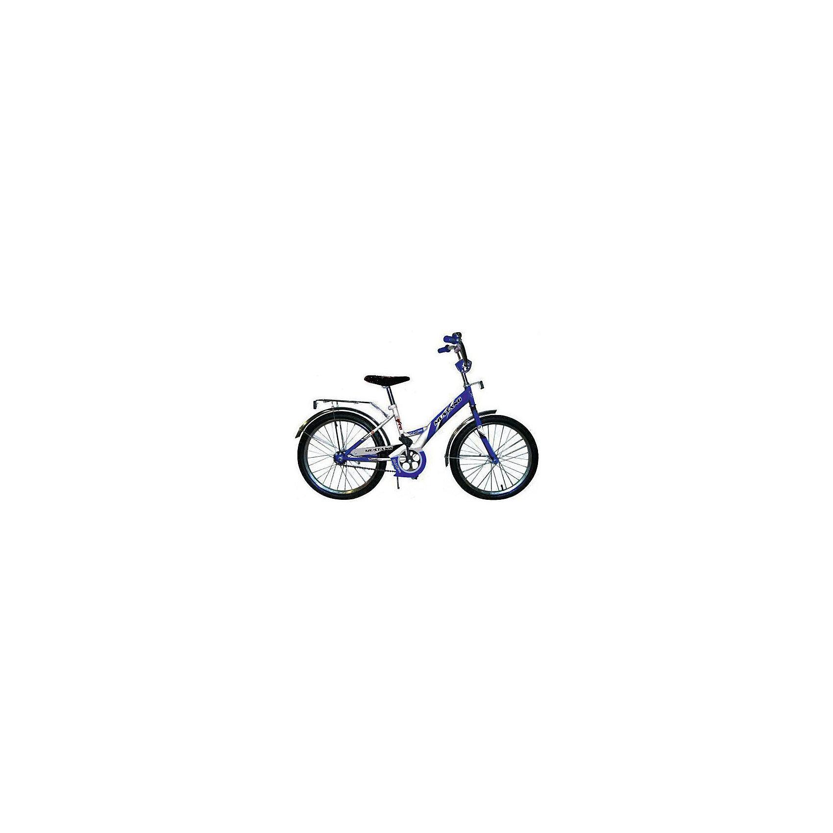 """Детский велосипед,  20,  синий/белый, MustangВелосипед детский «Mustang» 20, низкая рама, 1 скорость, задний ножной тормоз, регулируемый хромированный руль BMX с защитной накладкой, багажник, звонок, приставные пластиковые колеса с усиленным кронштейном, усиленные хромированные крылья, подножка средняя хромированная, полная защита цепи """"Р"""" типа,  синий/белый<br><br>Ширина мм: 580<br>Глубина мм: 920<br>Высота мм: 1290<br>Вес г: 13800<br>Возраст от месяцев: 48<br>Возраст до месяцев: 120<br>Пол: Мужской<br>Возраст: Детский<br>SKU: 5526373"""