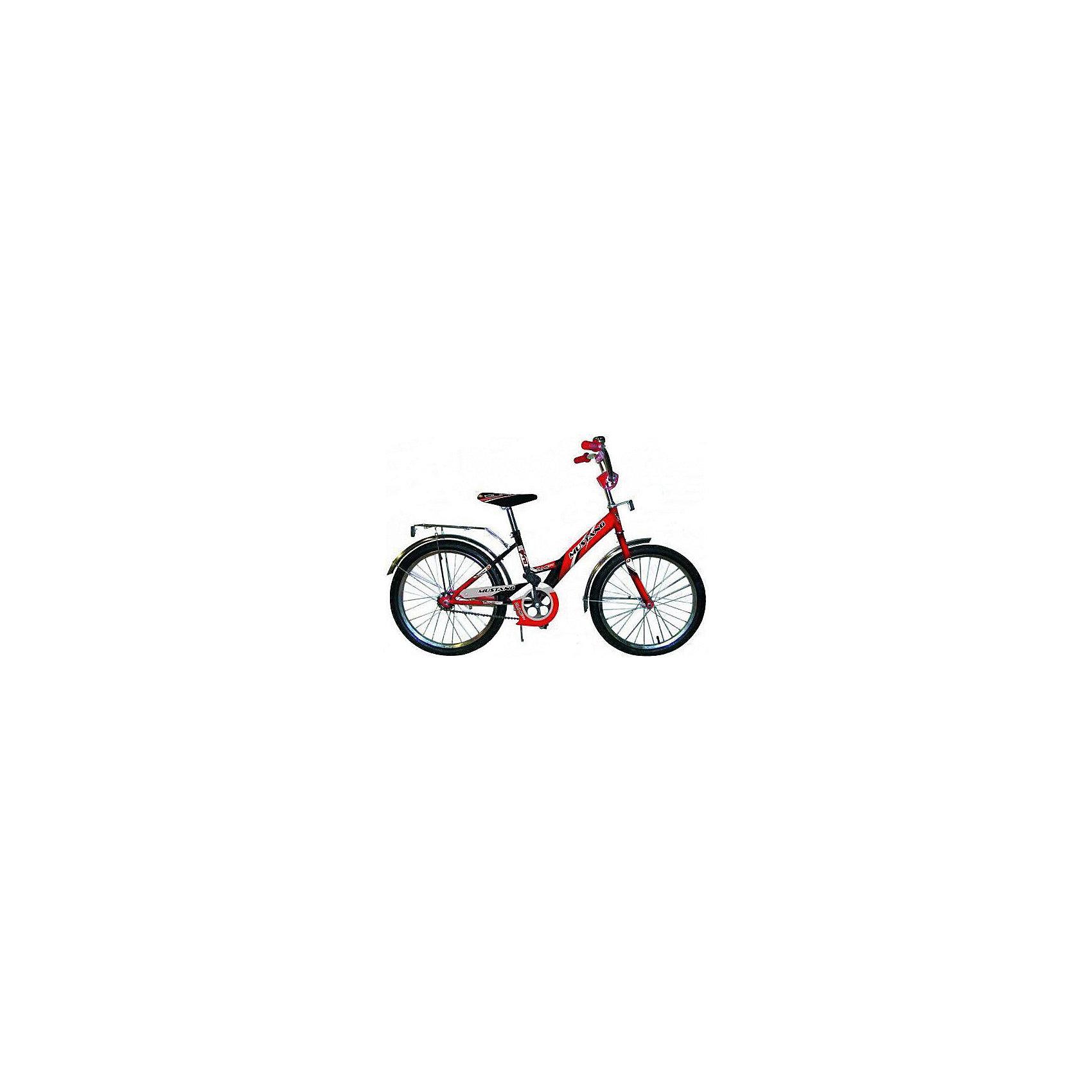 """Детский велосипед,  20,  красный/черный, MustangВелосипед детский «Mustang» 20, низкая рама, 1 скорость, задний ножной тормоз, регулируемый хромированный руль BMX с защитной накладкой, багажник и звонок, приставные пластиковые колеса с усиленным кронштейном, усиленные хромированные крылья, подножка средняя хром, полная защита цепи """"Р"""" типа,  красный/черный<br><br>Ширина мм: 580<br>Глубина мм: 920<br>Высота мм: 1290<br>Вес г: 13800<br>Возраст от месяцев: 48<br>Возраст до месяцев: 120<br>Пол: Унисекс<br>Возраст: Детский<br>SKU: 5526374"""