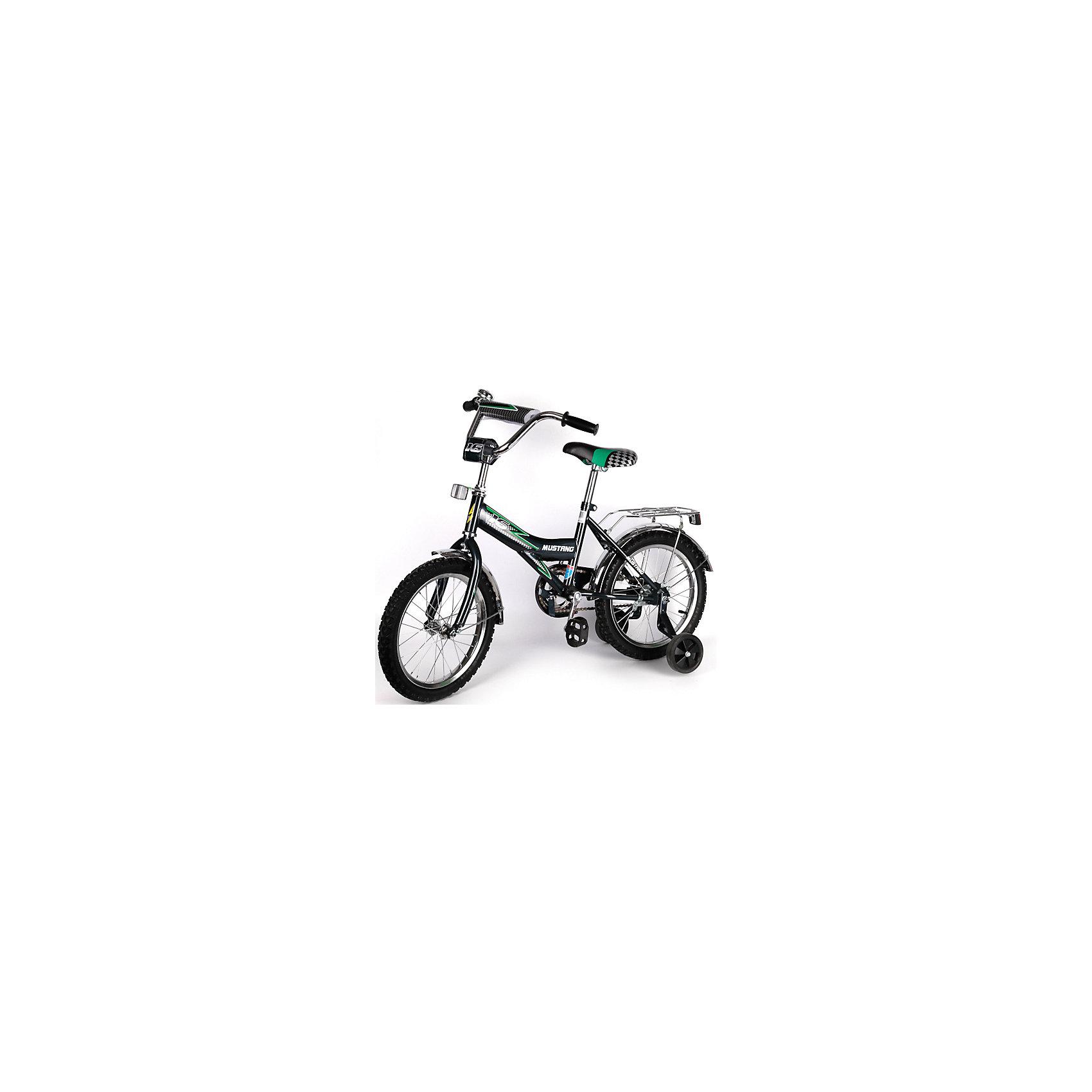 """Детский велосипед,  14"""",  черный, MustangВелосипед детский «Mustang» 14"""", низкая Push-рама, 1 скорость, задний ножной тормоз, регулируемый хромированный руль BMX с защитной накладкой, багажник и звонок, приставные пластиковые колеса с усиленным кронштейном, полная защита цепи """"P"""" типа, усиленные хром крылья, ограничитель поворота руля,  черный<br><br>Ширина мм: 500<br>Глубина мм: 680<br>Высота мм: 1000<br>Вес г: 10500<br>Возраст от месяцев: 36<br>Возраст до месяцев: 72<br>Пол: Мужской<br>Возраст: Детский<br>SKU: 5526375"""