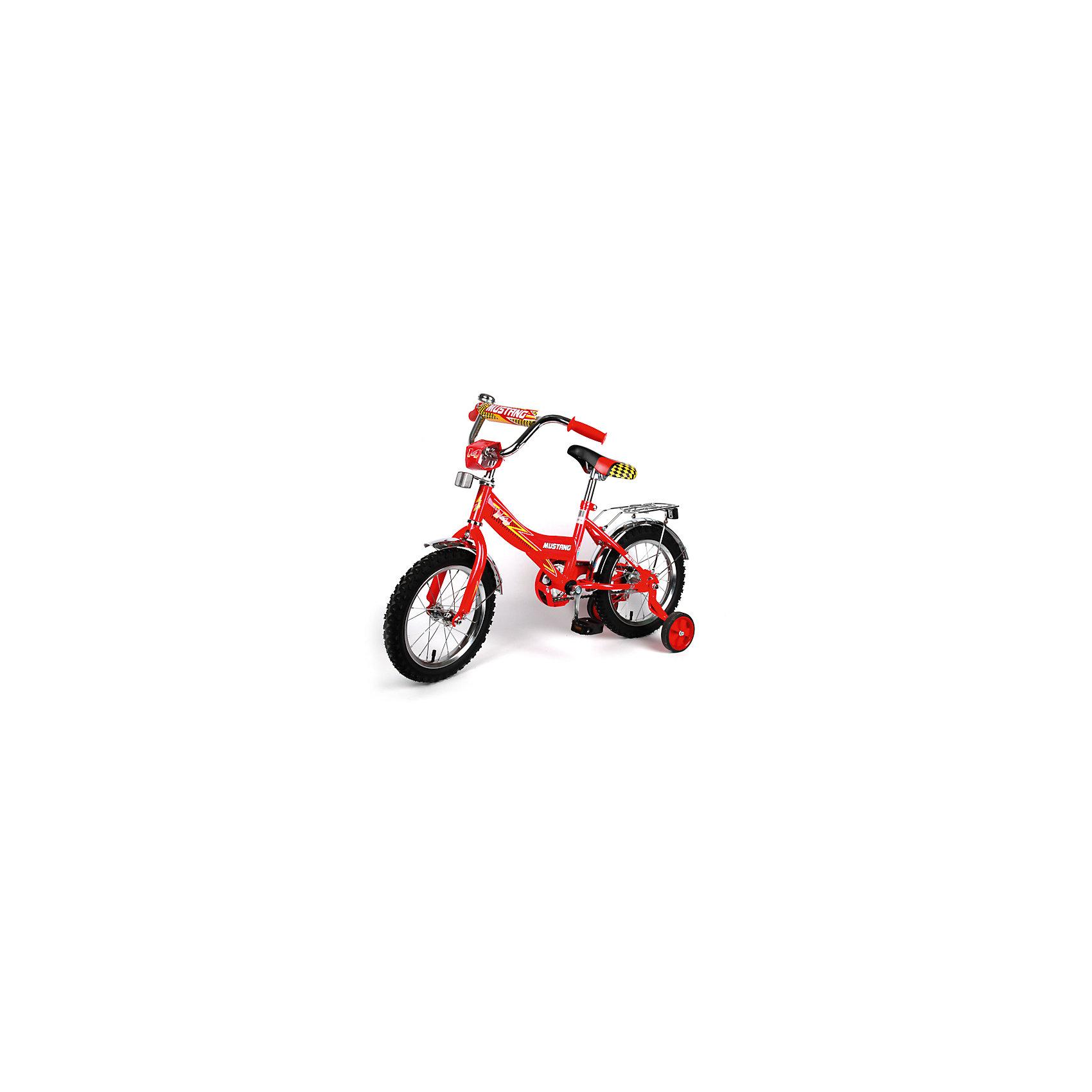 """Детский велосипед,  20"""",  красный, MustangВелосипеды детские<br>Характеристики товара:<br><br>• цвет: красный<br>• низкая Push-рама<br>• диаметр колес: 50 см (20)<br>• 1 скорость<br>• задний ножной тормоз<br>• регулируемый хромированный руль BMX с защитной накладкой<br>• багажник<br>• звонок<br>• приставные пластиковые колеса с усиленным кронштейном<br>• усиленные хромированные крылья<br>• откидная подножка хромированная средняя<br>• полная защита цепи """"Р"""" типа<br>• вес: 13,8 кг<br>• размер в собранном виде: 58х92х129 см<br>• допустимый вес: до 40 кг<br>• рекомендуемый возраст: от 4 лет<br>• страна производства: Китай<br><br>Велосипед детский «Mustang» 20"""" можно купить в нашем магазине.<br><br>Ширина мм: 580<br>Глубина мм: 920<br>Высота мм: 1290<br>Вес г: 13800<br>Возраст от месяцев: 48<br>Возраст до месяцев: 120<br>Пол: Женский<br>Возраст: Детский<br>SKU: 5526377"""