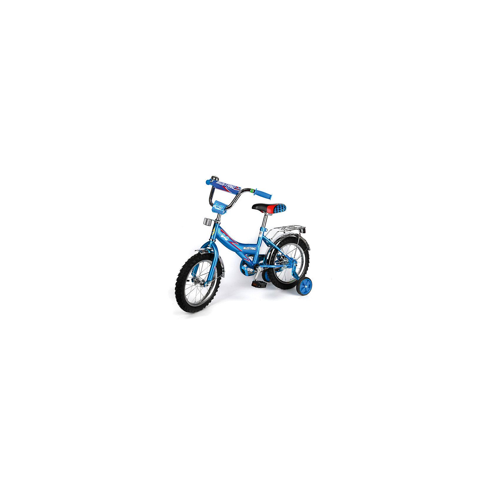 """Детский велосипед,  16"""", синий, MustangВелосипеды детские<br>Характеристики товара:<br><br>• цвет: синий<br>• низкая Push-рама<br>• диаметр колес:40 см (16)<br>• 1 скорость<br>• задний ножной тормоз<br>• регулируемый хромированный руль BMX с защитной накладкой<br>• багажник<br>• звонок<br>• приставные пластиковые колеса с усиленным кронштейном<br>• усиленные хромированные крылья<br>• откидная подножка хромированная средняя<br>• полная защита цепи """"Р"""" типа<br>• вес: 11,5 кг<br>• размер в собранном виде: 53х81х111 см<br>• допустимый вес: до 40 кг<br>• рекомендуемый возраст: от 3 лет<br>• страна производства: Китай<br><br>Велосипед детский «Mustang» 16"""" можно купить в нашем магазине.<br><br>Ширина мм: 530<br>Глубина мм: 810<br>Высота мм: 1110<br>Вес г: 11500<br>Возраст от месяцев: 36<br>Возраст до месяцев: 96<br>Пол: Мужской<br>Возраст: Детский<br>SKU: 5526378"""