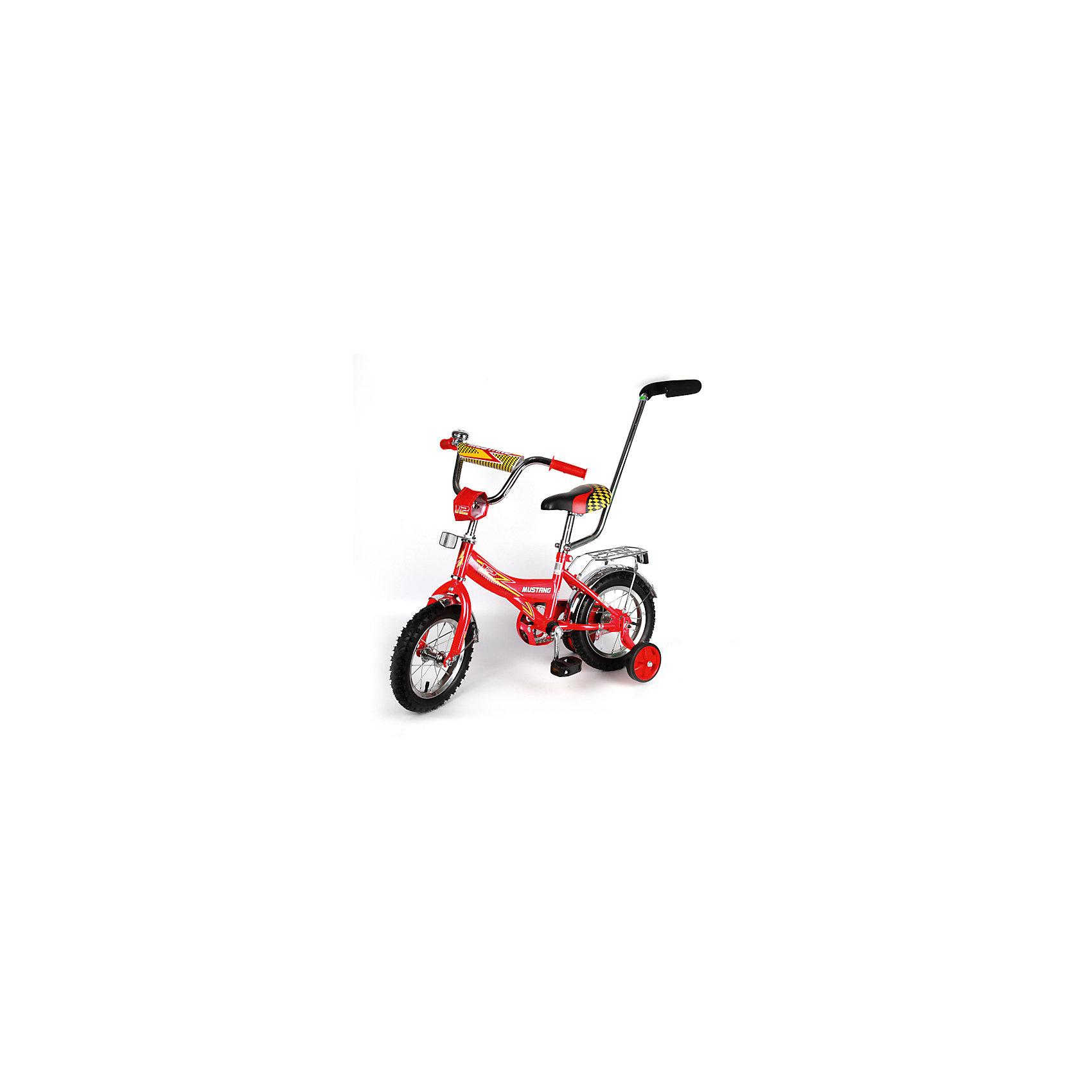 """Детский велосипед,  12"""",  красный, MustangВелосипеды детские<br>Характеристики товара:<br><br>• цвет: красный<br>• низкая Push-рама<br>• диаметр колес:30 см (12)<br>• 1 скорость<br>• задний ножной тормоз<br>• регулируемый хромированный руль BMX с защитной накладкой<br>• багажник с пружинным зажимом<br>• звонок<br>• приставные пластиковые колеса с усиленным кронштейном<br>• усиленные хромированные крылья<br>• ограничитель поворота руля<br>• ручка-толкатель<br>• полная защита цепи """"Р"""" типа<br>• вес: 10,4 кг<br>• размер в собранном виде: 85х50х90 см<br>• допустимый вес: до 25 кг<br>• рекомендуемый возраст: от 12 мес<br>• страна производства: Китай<br><br>Велосипед детский «Mustang» 12"""" можно купить в нашем магазине.<br><br>Ширина мм: 850<br>Глубина мм: 500<br>Высота мм: 900<br>Вес г: 10400<br>Возраст от месяцев: 12<br>Возраст до месяцев: 60<br>Пол: Женский<br>Возраст: Детский<br>SKU: 5526379"""