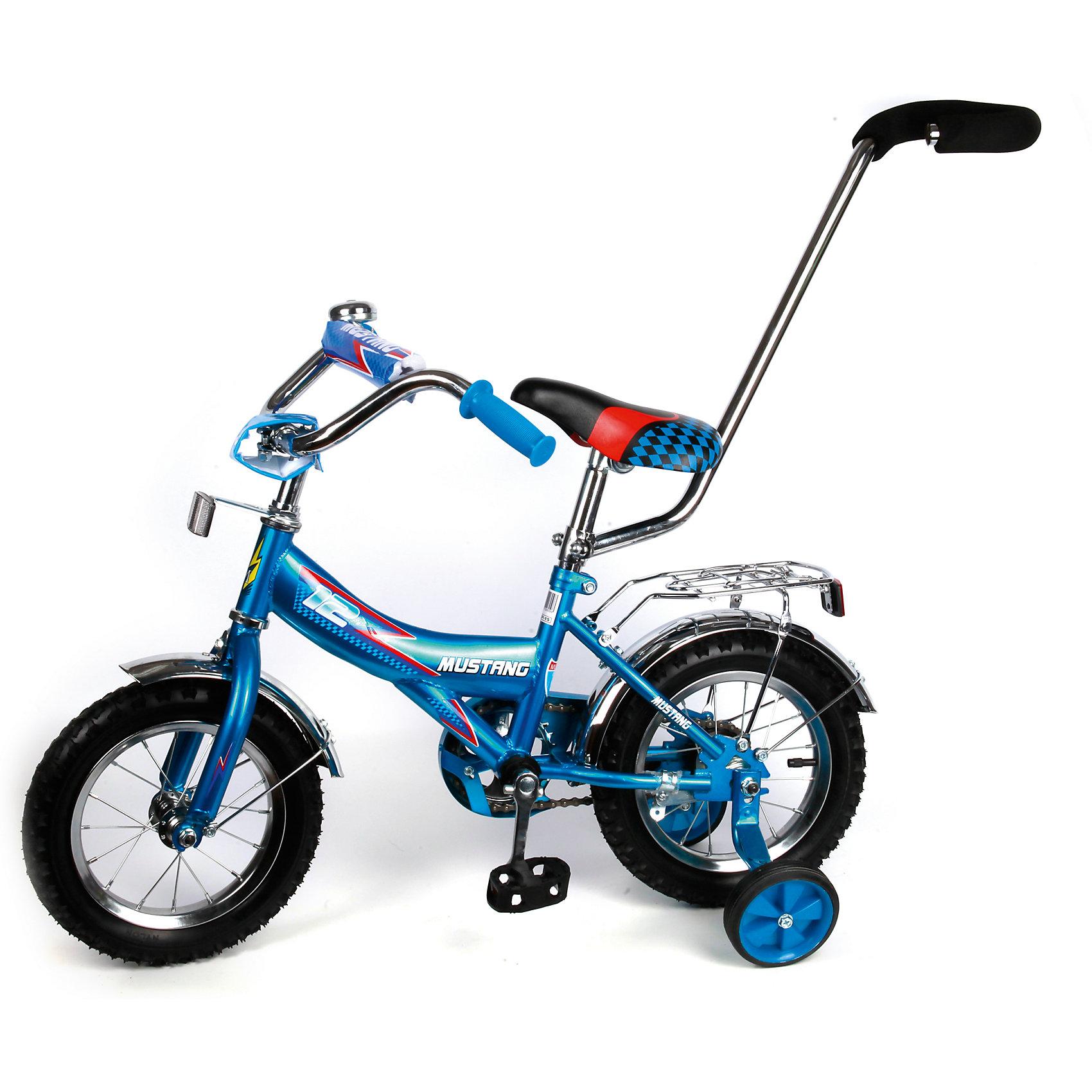 """Детский велосипед,  12"""",  синий, MustangВелосипеды детские<br>Характеристики товара:<br><br>• цвет: синий<br>• низкая Push-рама<br>• диаметр колес:30 см (12)<br>• 1 скорость<br>• задний ножной тормоз<br>• регулируемый хромированный руль BMX с защитной накладкой<br>• багажник с пружинным зажимом<br>• звонок<br>• приставные пластиковые колеса с усиленным кронштейном<br>• усиленные хромированные крылья<br>• ограничитель поворота руля<br>• ручка-толкатель<br>• полная защита цепи """"Р"""" типа<br>• вес: 10,4 кг<br>• размер в собранном виде: 85х50х90 см<br>• допустимый вес: до 25 кг<br>• рекомендуемый возраст: от 12 мес<br>• страна производства: Китай<br><br>Велосипед детский «Mustang» 12"""" можно купить в нашем магазине.<br><br>Ширина мм: 850<br>Глубина мм: 500<br>Высота мм: 900<br>Вес г: 10400<br>Возраст от месяцев: 12<br>Возраст до месяцев: 60<br>Пол: Мужской<br>Возраст: Детский<br>SKU: 5526380"""