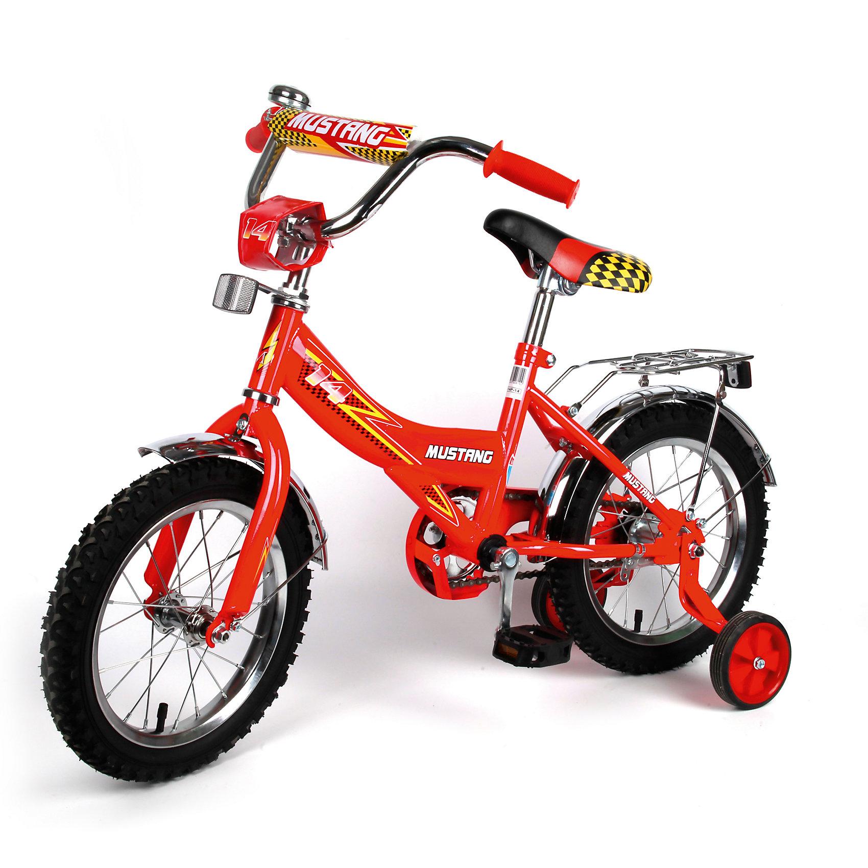 """Детский велосипед,  14"""",  красный, MustangВелосипеды детские<br>Характеристики товара:<br><br>• цвет: красный<br>• низкая Push-рама<br>• диаметр колес: 35 см (14)<br>• 1 скорость<br>• задний ножной тормоз<br>• регулируемый хромированный руль BMX с защитной накладкой<br>• багажник<br>• звонок<br>• приставные пластиковые колеса с усиленным кронштейном<br>• ограничитель поворота руля<br>• полная защита цепи """"Р"""" типа<br>• вес: 10,5 кг<br>• размер в собранном виде: 100х50х68 см<br>• допустимый вес: до 30 кг<br>• рекомендуемый возраст: от 3 лет<br>• страна производства: Китай<br><br>Велосипед детский «Mustang» 14 можно купить в нашем магазине.<br><br>Ширина мм: 500<br>Глубина мм: 680<br>Высота мм: 1000<br>Вес г: 10500<br>Возраст от месяцев: 36<br>Возраст до месяцев: 72<br>Пол: Женский<br>Возраст: Детский<br>SKU: 5526382"""