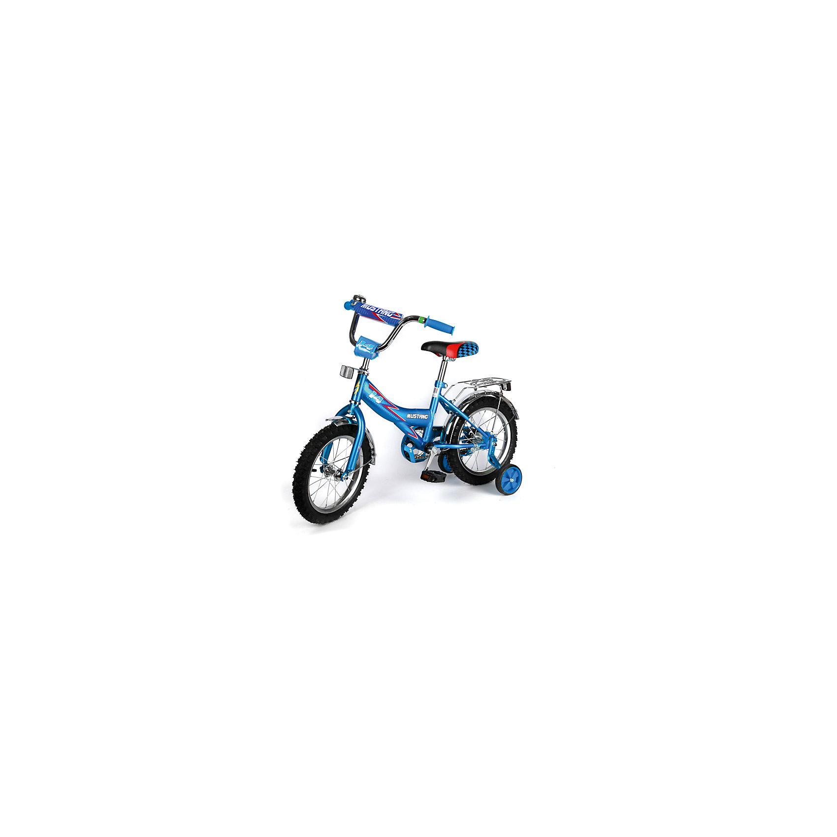 """Детский велосипед,  14"""",  синий, MustangВелосипед детский «Mustang» 14"""", низкая Push-рама, 1 скорость, задний ножной тормоз, регулируемый хромированный руль BMX с защитной накладкой, багажник и звонок, приставные пластиковые колеса с усиленным кронштейном, полная защита цепи """"P"""" типа, усиленые хром крылья, ограничитель поворота руля,  синий.<br><br>Ширина мм: 500<br>Глубина мм: 680<br>Высота мм: 1000<br>Вес г: 10500<br>Возраст от месяцев: 36<br>Возраст до месяцев: 72<br>Пол: Мужской<br>Возраст: Детский<br>SKU: 5526383"""