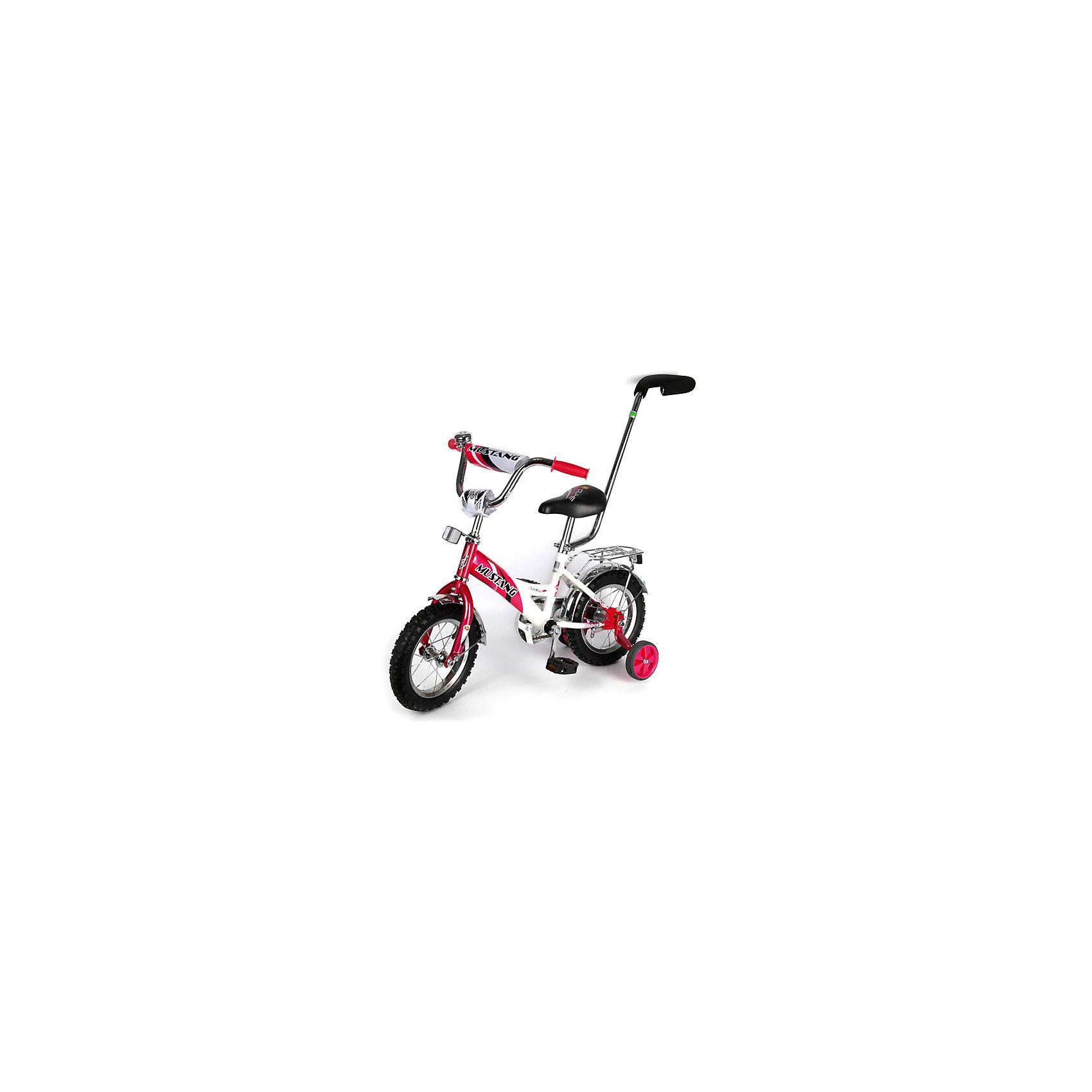 """Детский велосипед,  12"""",  малиновый/белый, MustangВелосипеды детские<br>Характеристики товара:<br><br>• цвет: малиновый, белый<br>• низкая Push-рама<br>• диаметр колес: 30 см (12)<br>• 1 скорость<br>• задний ножной тормоз<br>• регулируемый хромированный руль BMX с защитной накладкой<br>• багажник<br>• звонок<br>• приставные пластиковые колеса с усиленным кронштейном<br>• усиленные хромированные крылья<br>• съемная ручка-толкатель<br>• полная защита цепи """"Р"""" типа<br>• вес: 10,4 кг<br>• размер в собранном виде: 85х50х90 см<br>• допустимый вес: до 35 кг<br>• рекомендуемый возраст: от 12 мес<br>• страна производства: Китай<br><br>Велосипед детский «Mustang» 12"""" можно купить в нашем магазине.<br><br>Ширина мм: 500<br>Глубина мм: 850<br>Высота мм: 900<br>Вес г: 10400<br>Возраст от месяцев: 12<br>Возраст до месяцев: 60<br>Пол: Женский<br>Возраст: Детский<br>SKU: 5526387"""