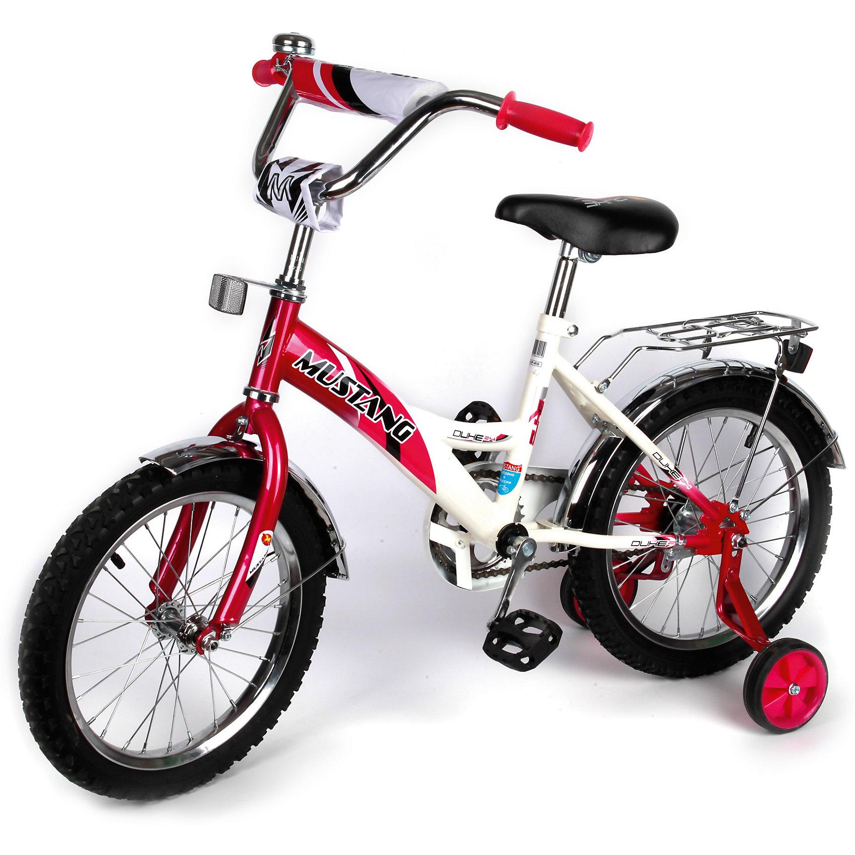 """Детский велосипед,  14"""",  малиновый/белый, MustangВелосипед детский «Mustang» 14"""", низкая рама, 1 скорость, задний ножной тормоз, регулируемый хромированный руль BMX с защитной накладкой, багажник и звонок, приставные пластиковые колеса с усиленным кронштейном, полная защита цепи """"P"""" типа, усиленные хромированные крылья, ограничитель поворота руля,  малиновый/белый.<br><br>Ширина мм: 500<br>Глубина мм: 680<br>Высота мм: 1000<br>Вес г: 10500<br>Возраст от месяцев: 36<br>Возраст до месяцев: 72<br>Пол: Женский<br>Возраст: Детский<br>SKU: 5526388"""