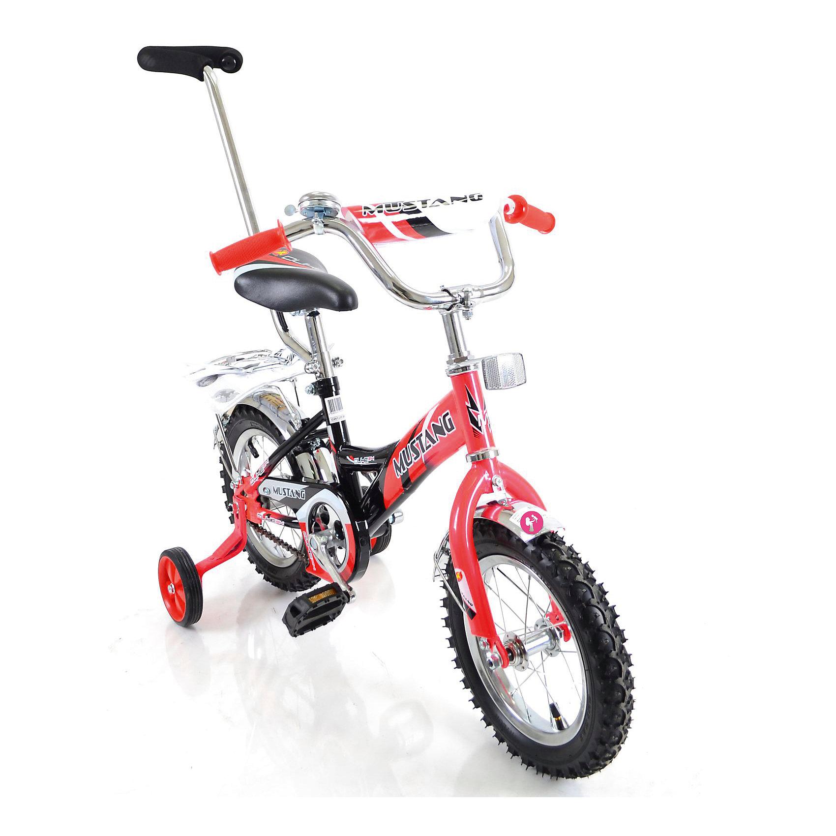 """Детский велосипед,  12,  красный/черный, MustangВелосипеды детские<br>Характеристики товара:<br><br>• цвет: красный, черный<br>• низкая Push-рама<br>• диаметр колес: 30 см (12)<br>• 1 скорость<br>• задний ножной тормоз<br>• регулируемый хромированный руль BMX с защитной накладкой<br>• багажник<br>• звонок<br>• приставные пластиковые колеса с усиленным кронштейном<br>• усиленные хромированные крылья<br>• съемная ручка-толкатель<br>• полная защита цепи """"Р"""" типа<br>• вес: 10,4 кг<br>• размер в собранном виде: 85х50х90 см<br>• допустимый вес: до 35 кг<br>• рекомендуемый возраст: от 12 мес<br>• страна производства: Китай<br><br>Велосипед детский «Mustang» 12"""" можно купить в нашем магазине.<br><br>Ширина мм: 850<br>Глубина мм: 500<br>Высота мм: 900<br>Вес г: 10400<br>Возраст от месяцев: 12<br>Возраст до месяцев: 60<br>Пол: Унисекс<br>Возраст: Детский<br>SKU: 5526391"""