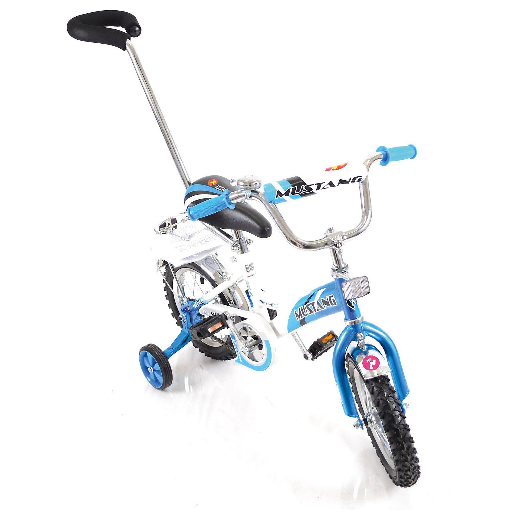 """Детский велосипед,  12,  синий/белый, MustangВелосипед детский «Mustang» 12"""", низкая рама, 1 скорость, задний ножной тормоз, регулируемый хромированный руль BMX с защитной накладкой, багажник и звонок, приставные пластиковые колеса с усиленным кронштейном, полная защита цепи """"P"""" типа, усиленные хромированные крылья, съемная ручка-толкатель, ограничитель поворота руля,  синий/белый<br><br>Ширина мм: 850<br>Глубина мм: 500<br>Высота мм: 900<br>Вес г: 10400<br>Возраст от месяцев: 12<br>Возраст до месяцев: 60<br>Пол: Мужской<br>Возраст: Детский<br>SKU: 5526392"""