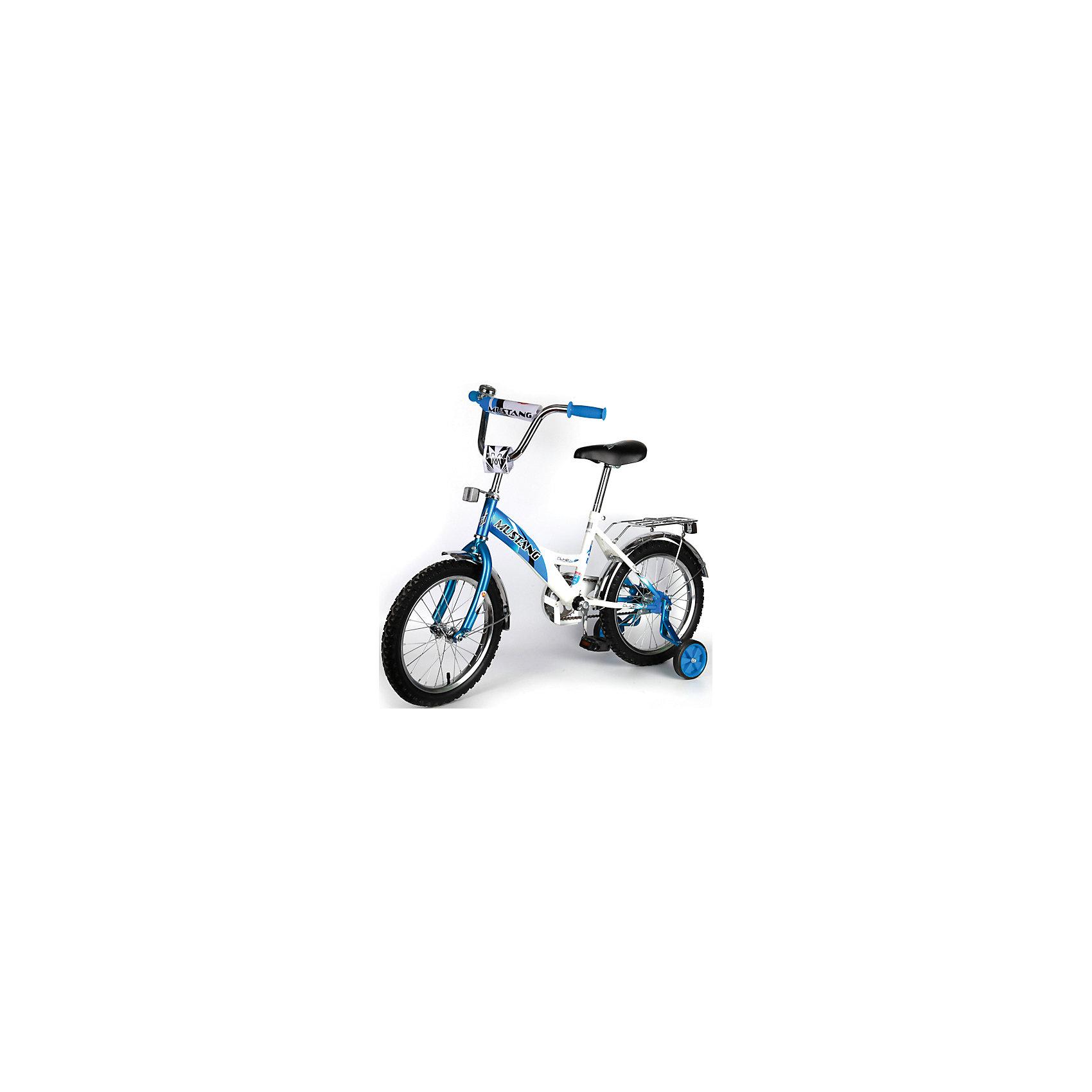 """Детский велосипед,  14,  синий/белый, MustangВелосипеды детские<br>Характеристики товара:<br><br>• цвет: синий, белый<br>• низкая рама<br>• диаметр колес: 35 см (14)<br>• 1 скорость<br>• задний ножной тормоз<br>• регулируемый хромированный руль BMX с защитной накладкой<br>• багажник<br>• звонок<br>• приставные пластиковые колеса с усиленным кронштейном<br>• усиленные хромированные крылья<br>• ограничитель поворота руля<br>• полная защита цепи """"Р"""" типа<br>• вес: 10,5 кг<br>• размер в собранном виде: 68х50х100 см<br>• допустимый вес: до 40 кг<br>• рекомендуемый возраст: от 3 лет<br>• страна производства: Китай<br><br>Велосипед детский «Mustang» 14"""" можно купить в нашем магазине.<br><br>Ширина мм: 500<br>Глубина мм: 680<br>Высота мм: 1000<br>Вес г: 10500<br>Возраст от месяцев: 36<br>Возраст до месяцев: 72<br>Пол: Мужской<br>Возраст: Детский<br>SKU: 5526393"""