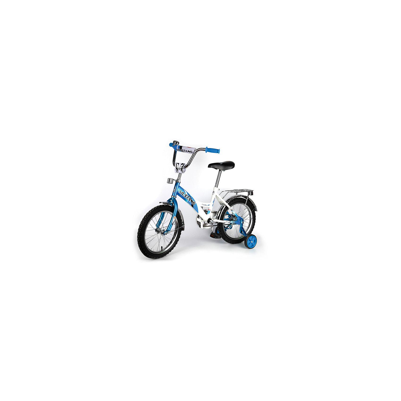 """Детский велосипед,  16,  синий/белый, MustangВелосипеды детские<br>Характеристики товара:<br><br>• цвет: синий, белый<br>• низкая рама<br>• диаметр колес: 40 см (16)<br>• 1 скорость<br>• задний ножной тормоз<br>• регулируемый хромированный руль BMX с защитной накладкой<br>• багажник<br>• звонок<br>• приставные пластиковые колеса с усиленным кронштейном<br>• усиленные хромированные крылья<br>• ограничитель поворота руля<br>• полная защита цепи """"Р"""" типа<br>• вес: 11,5 кг<br>• размер в собранном виде: 53х81х111 см<br>• допустимый вес: до 40 кг<br>• рекомендуемый возраст: от 3 лет<br><br>Ширина мм: 530<br>Глубина мм: 810<br>Высота мм: 1110<br>Вес г: 11500<br>Возраст от месяцев: 36<br>Возраст до месяцев: 84<br>Пол: Мужской<br>Возраст: Детский<br>SKU: 5526395"""