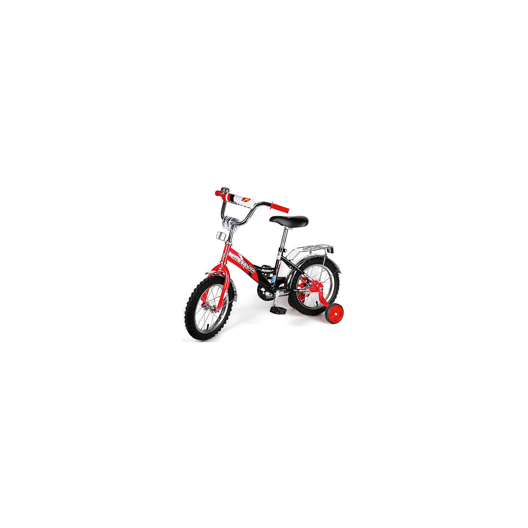 """Детский велосипед,  14,  красный/черный, MustangВелосипед детский «Mustang» 14, низкая рама, 1 скорость, задний ножной тормоз, регулируемый хромированный руль BMX с защитной накладкой, багажник и звонок, ограничитель поворота руля, приставные пластиковые колеса с усиленным кронштейном, усиленные хром крылья, полная защита цепи """"P"""" типа, ограничитель поворота руля,  красный/черный.<br><br>Ширина мм: 500<br>Глубина мм: 680<br>Высота мм: 1000<br>Вес г: 10500<br>Возраст от месяцев: 36<br>Возраст до месяцев: 60<br>Пол: Унисекс<br>Возраст: Детский<br>SKU: 5526396"""