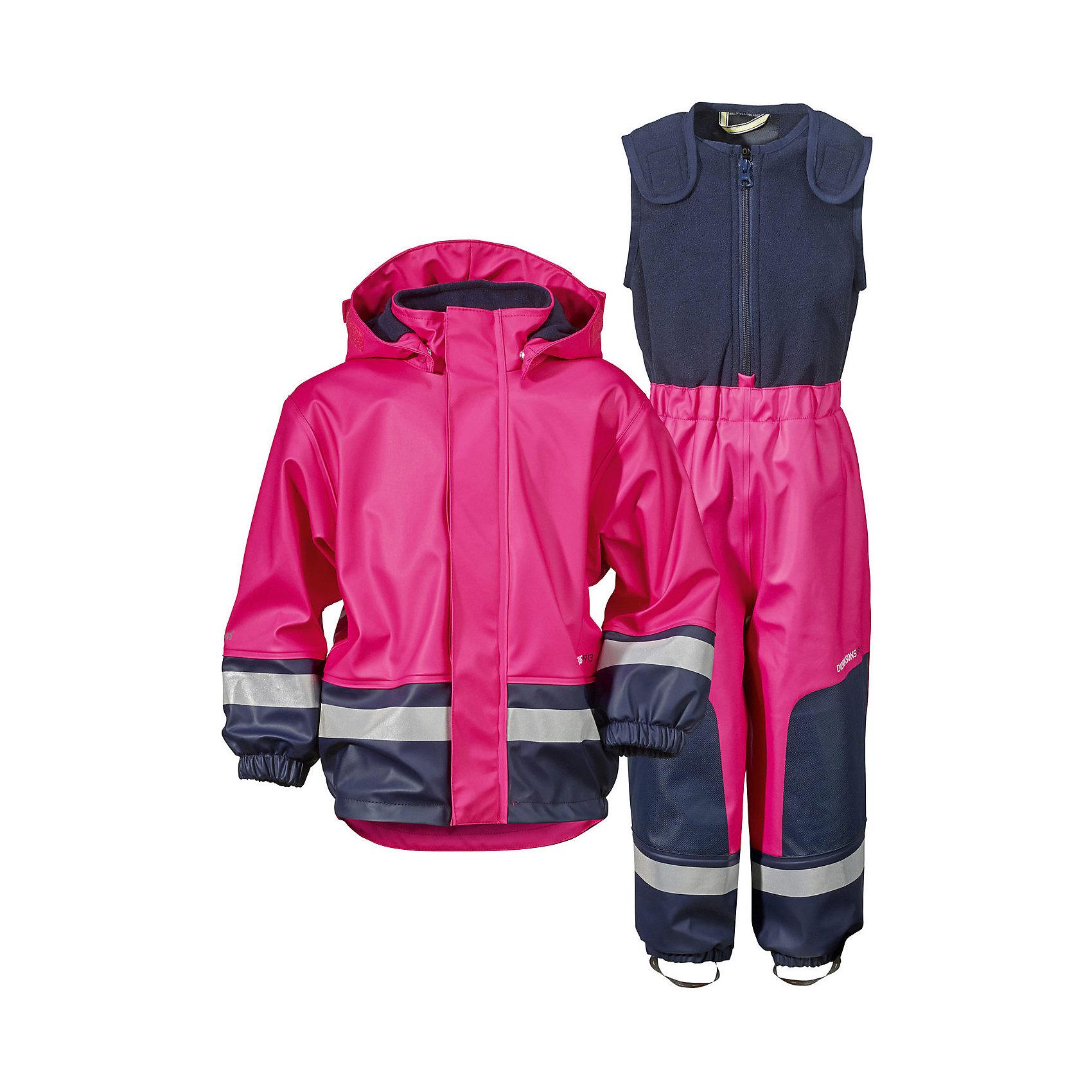 Непромокаемый комплект BOARDMAN для девочки DIDRIKSONSВерхняя одежда<br>Детский костюм из абсолютно водронепроницаемого мягкого полиуретана Galon на подкладке из флиса. Все швы проклеены, что обеспечивает максимальную защиту от внешней влаги. Регулируемый съемный капюшон и пояс брюк. Резинки для ботинок. Фронтальная молния под планкой. Зона коленей усилена дополнительным слоем ткани. Светоотражатели. Ткань - износоустойчивая, за ней легко ухаживать - грязь легко удаляется с помощью влажной губки или ткани. Костюм незаменим в ненастную прохладную погоду, рассчитан на температуру от 0 до +7. Ребёнок будет счастлив обмерить все лужи, залезть на все сугробы и прокатиться на грязных горках и останется сухим, а мама довольной.<br>Состав:<br>Верх - 100% полиуретан, подкладка - 100% полиэстер<br><br>Ширина мм: 356<br>Глубина мм: 10<br>Высота мм: 245<br>Вес г: 519<br>Цвет: розовый<br>Возраст от месяцев: 6<br>Возраст до месяцев: 9<br>Пол: Женский<br>Возраст: Детский<br>Размер: 70,140,80<br>SKU: 5527181