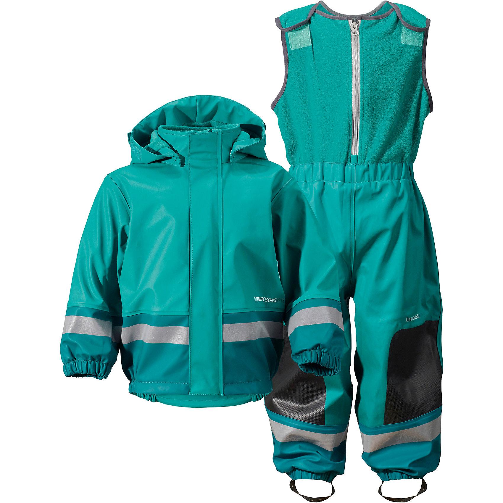 Непромокаемый комплект BOARDMAN  DIDRIKSONSВерхняя одежда<br>Детский костюм из абсолютно водронепроницаемого мягкого полиуретана Galon на подкладке из флиса. Все швы проклеены, что обеспечивает максимальную защиту от внешней влаги. Регулируемый съемный капюшон и пояс брюк. Резинки для ботинок. Фронтальная молния под планкой. Зона коленей усилена дополнительным слоем ткани. Светоотражатели. Ткань - износоустойчивая, за ней легко ухаживать - грязь легко удаляется с помощью влажной губки или ткани. Костюм незаменим в ненастную прохладную погоду, рассчитан на температуру от 0 до +7. Ребёнок будет счастлив обмерить все лужи, залезть на все сугробы и прокатиться на грязных горках и останется сухим, а мама довольной.<br>Состав:<br>Верх - 100% полиуретан, подкладка - 100% полиэстер<br><br>Ширина мм: 356<br>Глубина мм: 10<br>Высота мм: 245<br>Вес г: 519<br>Цвет: зеленый<br>Возраст от месяцев: 6<br>Возраст до месяцев: 9<br>Пол: Унисекс<br>Возраст: Детский<br>Размер: 70,80<br>SKU: 5527185