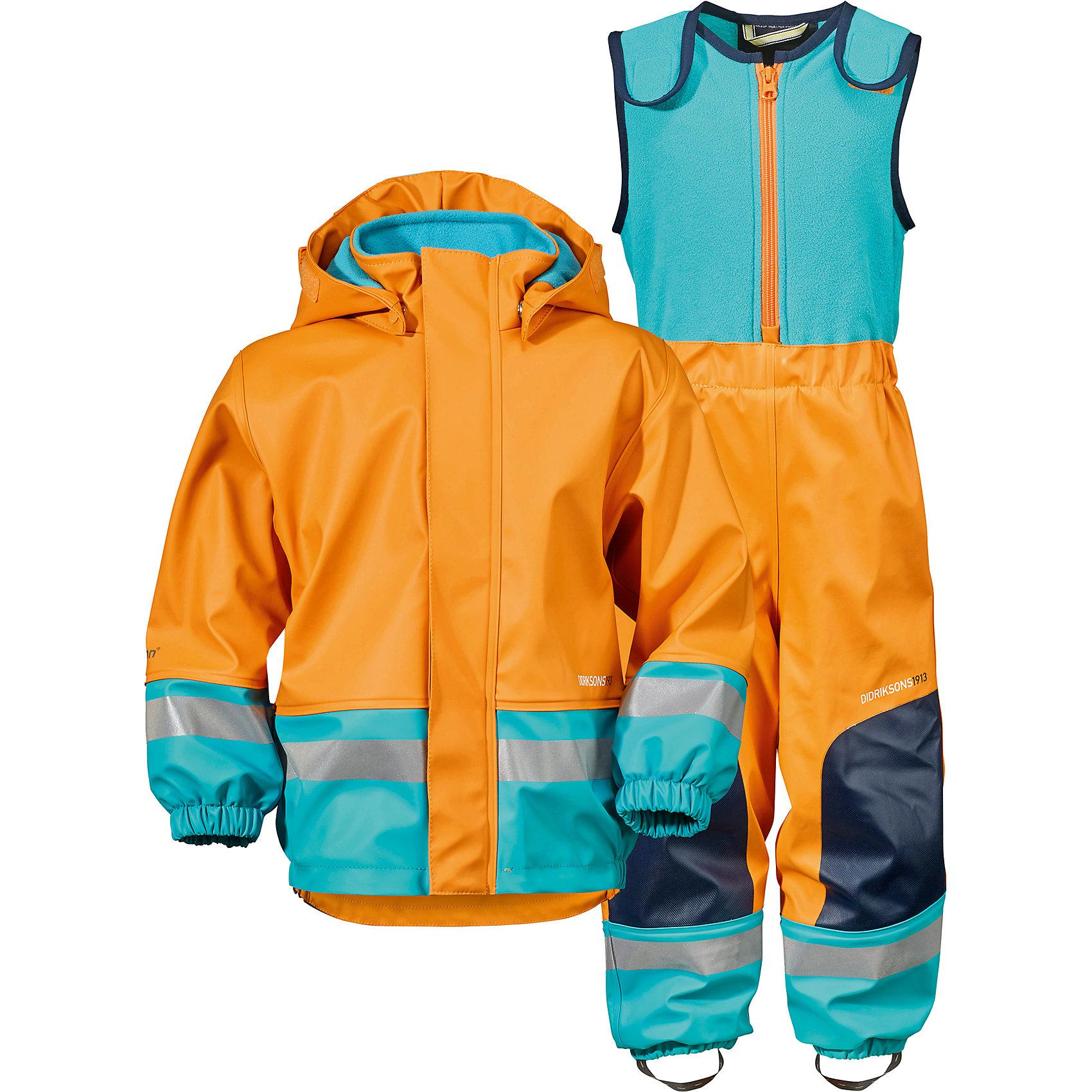 Непромокаемый комплект BOARDMAN  DIDRIKSONSВерхняя одежда<br>Детский костюм из абсолютно водронепроницаемого мягкого полиуретана Galon на подкладке из флиса. Все швы проклеены, что обеспечивает максимальную защиту от внешней влаги. Регулируемый съемный капюшон и пояс брюк. Резинки для ботинок. Фронтальная молния под планкой. Зона коленей усилена дополнительным слоем ткани. Светоотражатели. Ткань - износоустойчивая, за ней легко ухаживать - грязь легко удаляется с помощью влажной губки или ткани. Костюм незаменим в ненастную прохладную погоду, рассчитан на температуру от 0 до +7. Ребёнок будет счастлив обмерить все лужи, залезть на все сугробы и прокатиться на грязных горках и останется сухим, а мама довольной.<br>Состав:<br>Верх - 100% полиуретан, подкладка - 100% полиэстер<br><br>Ширина мм: 356<br>Глубина мм: 10<br>Высота мм: 245<br>Вес г: 519<br>Цвет: оранжевый<br>Возраст от месяцев: 12<br>Возраст до месяцев: 15<br>Пол: Унисекс<br>Возраст: Детский<br>Размер: 80,70<br>SKU: 5527188