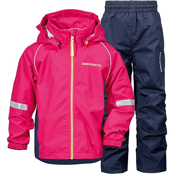 Комплект ZVORO для девочки DIDRIKSONSВерхняя одежда<br>Костюм  из непромокаемой и непродуваемой мембранной ткани. Все швы проклеены, что обеспечивает максимальную защиту от внешней влаги. Подкладка из полиэстера.  Светоотражатели. Модель растет вместе с ребенком: уникальный крой изделия позволяет при необходимости увеличить длину рукавов и штанин на один размер, распустив специальный внутренний шов. Практичная демисезонная модель - идеальный вариант для прогулок на свежем воздухе в весеннюю или осеннюю пору.  <br>Состав:<br>Верх - 100% полиэстер, подкладка - 100% полиэстер<br><br>Ширина мм: 356<br>Глубина мм: 10<br>Высота мм: 245<br>Вес г: 519<br>Цвет: розовый<br>Возраст от месяцев: 108<br>Возраст до месяцев: 120<br>Пол: Женский<br>Возраст: Детский<br>Размер: 140,130,120,80<br>SKU: 5527238
