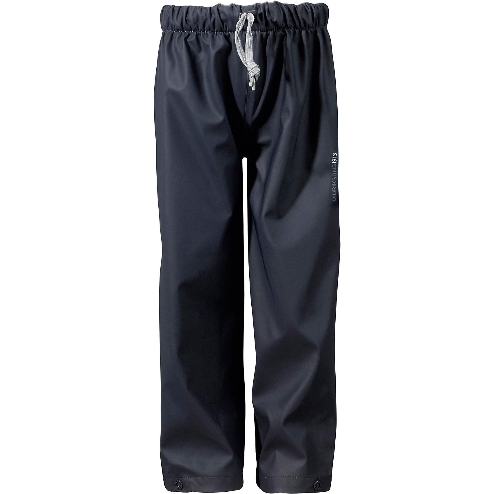 Непромокаемые брюки MIDJEMAN  DIDRIKSONSВерхняя одежда<br>Характеристики товара:<br><br>• цвет: морской бриз<br>• материал: 100% полиэстер, покрытие 100% полиуретан<br>• подкладка: 100% полиэстер, трикотаж<br>• утеплитель: нет<br>• сезон: демисезон<br>• температурный режим: от +10°С до +20°С<br>• прорезиненные<br>• уровень влагонепроницаемости: 8000 мм (DRY-8)<br>• мягкая резинка в талии<br>• ветронепродуваемые<br>• шнурок со стоппером<br>• все швы пропаяны<br>• наличие светоотражающих деталей<br>• страна бренда: Швеция<br>• страна производства: Китай<br><br>Брюки из водонепроницаемого полиуретана Galon с бондированным трикотажем внутри без утеплителя. Все швы пропаяны, что обеспечивает максимальную защиту от внешней влаги. Светоотражатели. Брюки можно использовать в качестве самостоятельного предмета одежды, а также в качестве защитной одежды.<br><br>Брюки MIDJEMAN от бренда DIDRIKSONS (Дидриксонс) можно купить в нашем интернет-магазине.<br><br>Ширина мм: 215<br>Глубина мм: 88<br>Высота мм: 191<br>Вес г: 336<br>Цвет: синий<br>Возраст от месяцев: 18<br>Возраст до месяцев: 24<br>Пол: Унисекс<br>Возраст: Детский<br>Размер: 90,80,100<br>SKU: 5527320