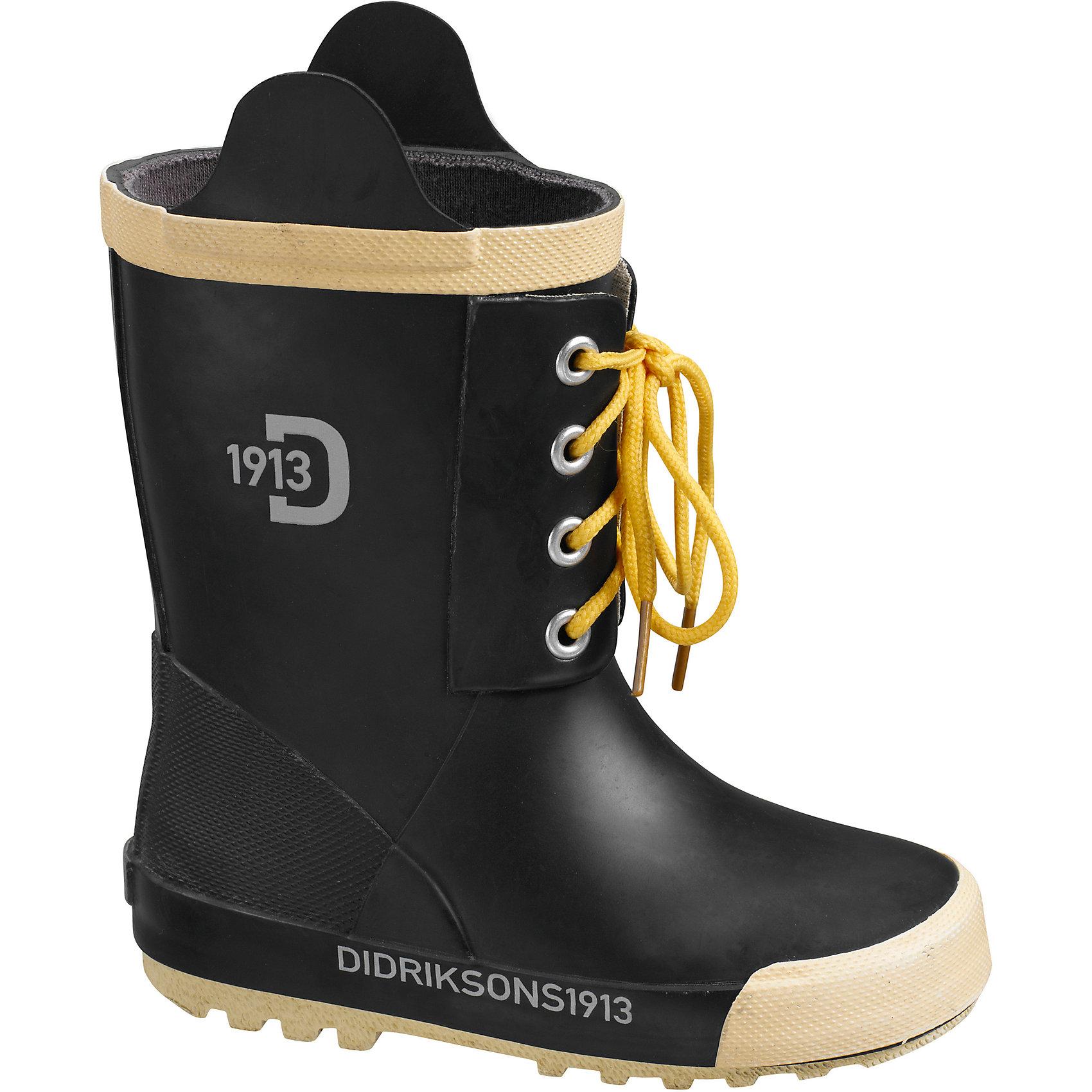 Резиновые сапоги SPLASHMAN для мальчика DIDRIKSONSРезиновые сапоги<br>Яркие резиновые сапоги  из натурального каучука - практичная и удобная обувь для дождливой погоды. Модель украшена шнуровкой. Мягкая текстильная подкладка из полиэстера обеспечит тепло и комфорт при носке. Ортопедическая стелька вынимается. Рельефная подошва предотвратит скольжение. <br>Состав:<br>Верх - 100% каучук, подкладка - 100% полиэстер<br><br>Ширина мм: 237<br>Глубина мм: 180<br>Высота мм: 152<br>Вес г: 438<br>Цвет: черный<br>Возраст от месяцев: 108<br>Возраст до месяцев: 120<br>Пол: Мужской<br>Возраст: Детский<br>Размер: 33<br>SKU: 5527335