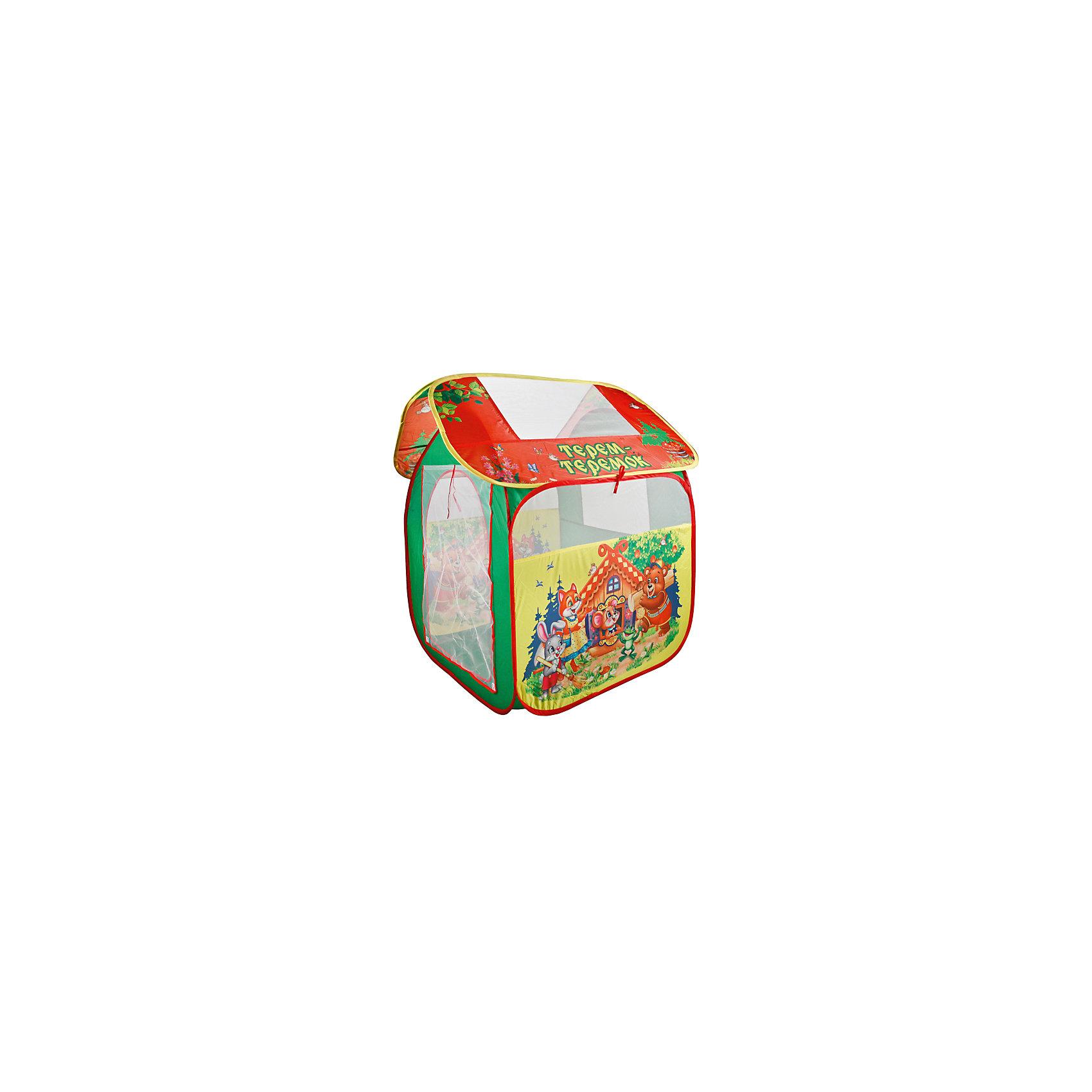 Палатка Теремок (большая), в сумке, Играем вместеПалатка Теремок, Играем вместе, станет чудесным подарком для Вашего ребенка. Красочная палатка ярко-зеленого цвета выполнена по мотивам русской народной сказки Теремок и украшена изображениями симпатичных зверюшек. Палатка оснащена дверью на липучке, окошками из сетчатого материала и большим окном для вентиляции на крыше палатки. Благодаря самораскладывающемуся каркасу-спирали палатка легко собирается и складывается. Этот замечательный игровой домик поможет Вашему ребенку создать свой уютный уголок для игр как в помещении, так и на улице. Палатка компактно складывается в небольшую сумочку, поэтому ее удобно брать с собой на прогулку или в поездку. Выполнена из прочного, водонепроницаемого, моющегося материала. Яркая палатка будет чудесным местом для самостоятельной игры ребёнка и отлично подойдёт для сюжетно-ролевых игр. <br><br>Дополнительная информация:<br><br>- Материал: текстиль. <br>- Размер палатки: 83 х 80 х 105 см.<br>- Размер упаковки: 40 x 40 x 3 см.<br>- Вес с упаковкой: 0,71 кг. <br><br>Палатку Теремок (большая), в сумке, Играем вместе, можно купить в нашем интернет-магазине.<br><br>Ширина мм: 400<br>Глубина мм: 400<br>Высота мм: 30<br>Вес г: 710<br>Возраст от месяцев: 36<br>Возраст до месяцев: 120<br>Пол: Унисекс<br>Возраст: Детский<br>SKU: 5528153