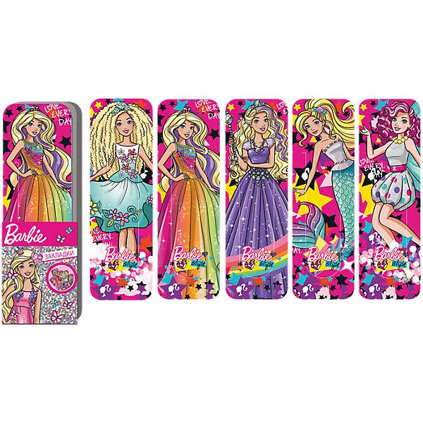 Набор закладок фигурных Barbie, 5 шт., LimpopoШкольные аксессуары<br>Набор из 5 пластиковых закладок. Резная интересная форма закладок. Есть дополнительный фиксатор страницы. Верхнюю часть закладки ( сам дизайн) всегда видно.<br><br>Ширина мм: 190<br>Глубина мм: 600<br>Высота мм: 300<br>Вес г: 18<br>Возраст от месяцев: 36<br>Возраст до месяцев: 168<br>Пол: Женский<br>Возраст: Детский<br>SKU: 5528380