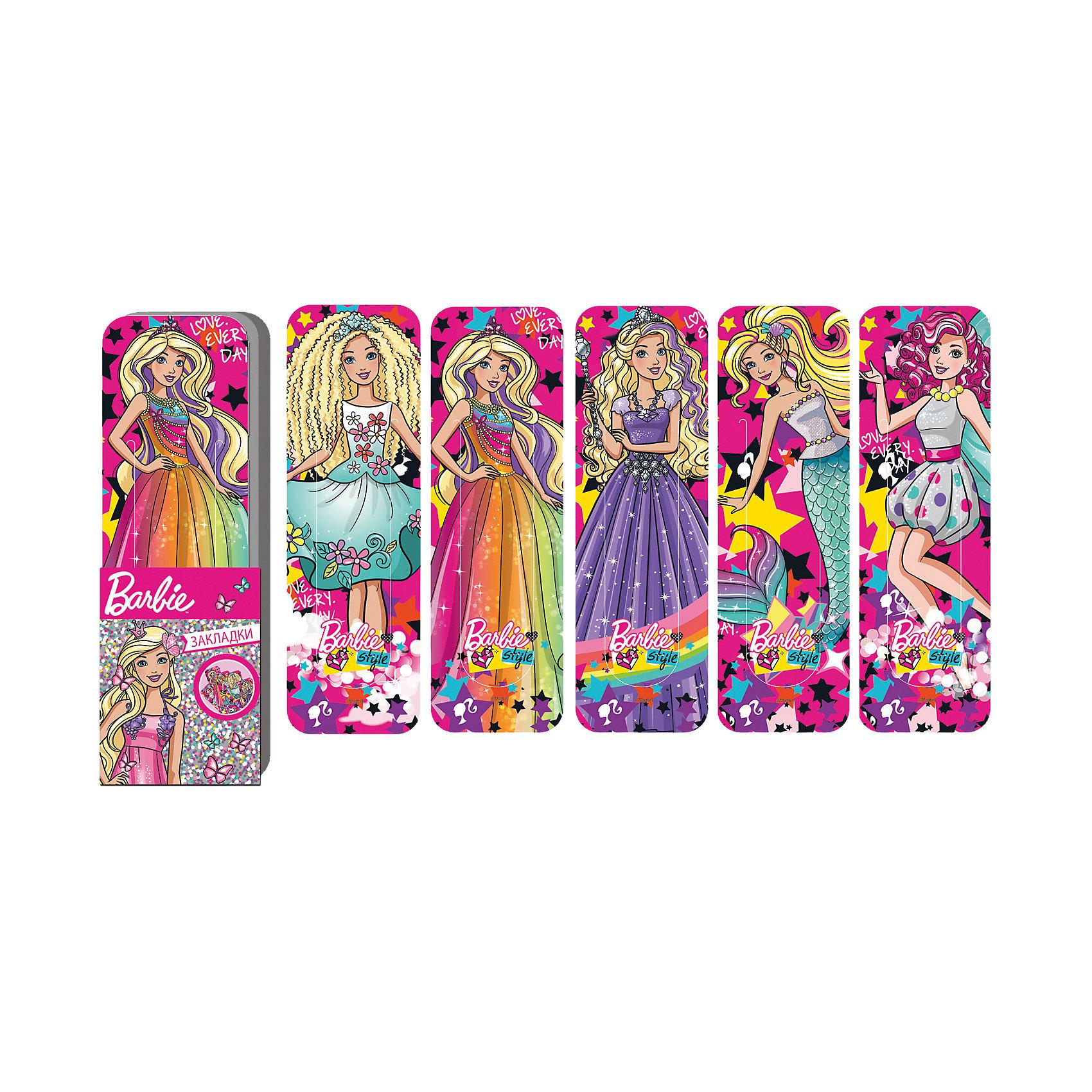 Набор закладок фигурных Barbie, 5 шт., LimpopoBarbie<br>Набор из 5 пластиковых закладок. Резная интересная форма закладок. Есть дополнительный фиксатор страницы. Верхнюю часть закладки ( сам дизайн) всегда видно.<br><br>Ширина мм: 190<br>Глубина мм: 600<br>Высота мм: 300<br>Вес г: 18<br>Возраст от месяцев: 36<br>Возраст до месяцев: 168<br>Пол: Женский<br>Возраст: Детский<br>SKU: 5528380