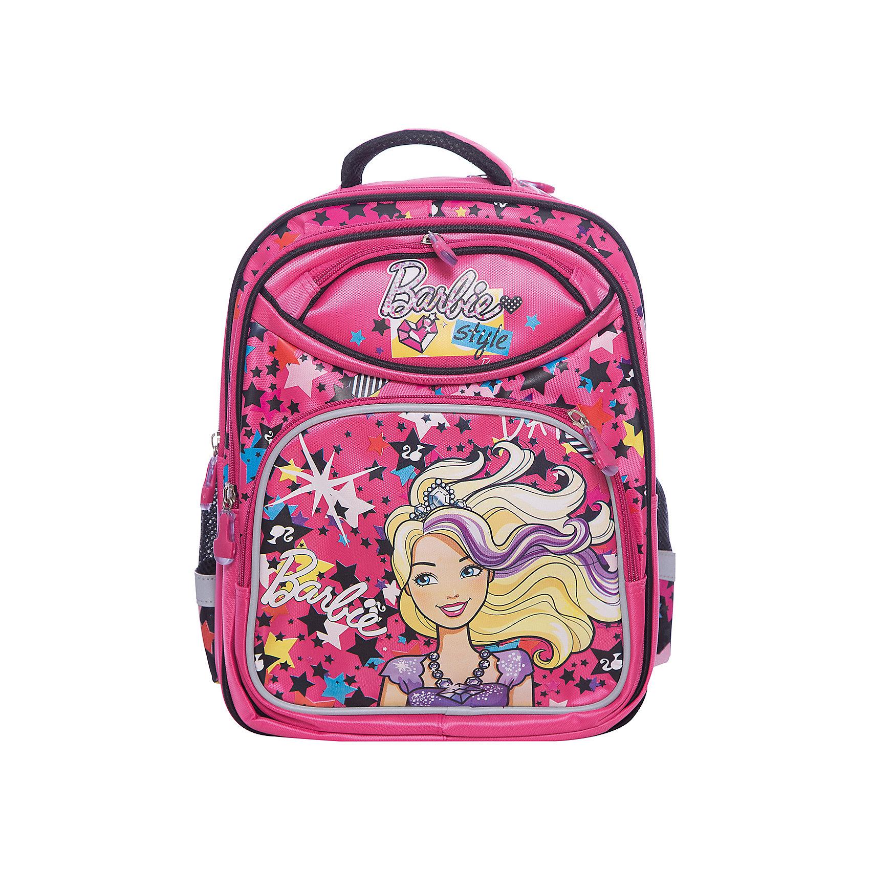 Рюкзак Barbie, LimpopoBarbie<br>2 боковых кармана, 2 передних кармана<br>- Прорезиненная ручка, петля для подвеса<br>- Надежное крепление ручки, зигзагообразная прошивка и металическая заклёпка<br>- Крепление ручек на тесьму с прошивкой крест на крест<br>- 3 отделения<br>- брендированные нашивки и фирменные брелоки<br>- Эргономичная спинка<br>- Регулируемые лямки<br>- световозвращающие элементы по всему периметру рюкзака<br><br>Ширина мм: 390<br>Глубина мм: 340<br>Высота мм: 200<br>Вес г: 920<br>Возраст от месяцев: 72<br>Возраст до месяцев: 168<br>Пол: Женский<br>Возраст: Детский<br>SKU: 5528382