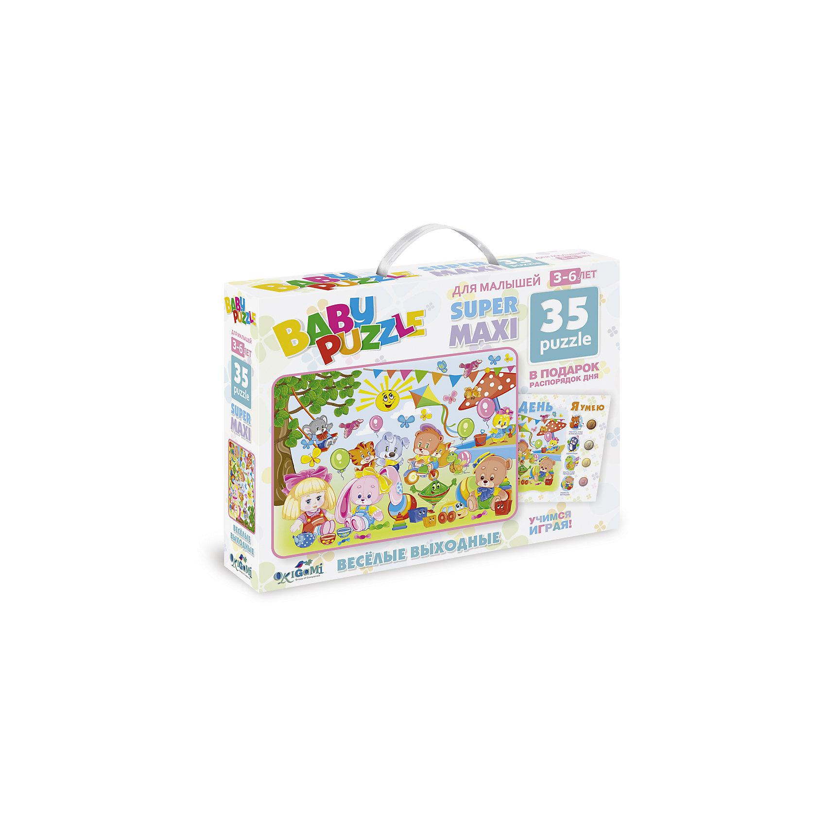 Пазл Веселые выходные с плакатом Мой день, OrigamiПазлы для малышей<br>Пазл Веселые выходные с плакатом Мой день, Origami<br><br>Характеристики:<br><br>• В набор входит: пазл, распорядок дня, медали (4 шт.)<br>• Количество деталей: 35 шт.<br>• Размер упаковки: 23 * 5 * 18 см.<br>• Состав: картон<br>• Вес: 150 г.<br>• Для детей в возрасте: от 3 до 6 лет<br>• Страна производитель: Россия<br><br>Лицензионный пазл с оригинальным дизайном соответствует высоким стандартам, которые подтверждены сертификатами качества. Крупные детали пазла отлично собираются, благодаря чётким разделениям частей по цвету сборка этого пазла не будет сложной. Кроме обычной сборки, пазл можно использовать для развития речи и кругозора малыша, научить его рассказывать о том как прошёл день, как может пройти день. С плакатом распорядка дня и четырьмя медалями можно составлять и планировать дни, оценивая насколько успешно они проходят.<br><br>Пазл Веселые выходные с плакатом Мой день, Origami можно купить в нашем интернет-магазине.<br><br>Ширина мм: 230<br>Глубина мм: 50<br>Высота мм: 180<br>Вес г: 150<br>Возраст от месяцев: 36<br>Возраст до месяцев: 72<br>Пол: Унисекс<br>Возраст: Детский<br>SKU: 5528442