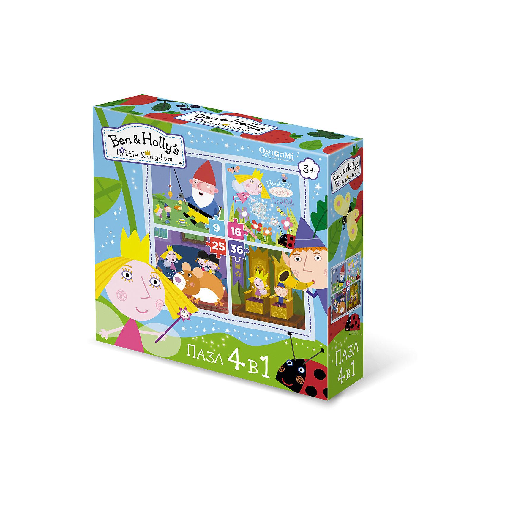 Пазл 4 в 1 В королевстве, Бен и Холли, OrigamiПазлы для малышей<br>Пазл 4 в 1 В королевстве, Бен и Холли, Origami<br><br>Характеристики:<br><br>• Количество элементов: 360 шт.<br>• Размер упаковки: 18 *6*18 см<br>• Размер готовой картинки: 22 * 22 см<br>• Состав: бумага, картон<br>• Вес: 150 г<br>• Для детей в возрасте: от 3до 5 лет<br>• Страна производитель: Россия<br><br>Эта игра состоит из 4 наборов пазл: первый состоит из 9 деталей, второй - из 16, третий - из 25 и четвертый состоит из 36 деталей. Ребенок может начать с малого количества деталей, и, если у него получится он может перейти на более высокий уровень. Высококачественный пазл отлично собирается, благодаря хорошо подходящим друг к другу деталям. Вы с легкостью сможете склеить кусочки, превратив пазл в красивую картину, или можете разобрать его и снова собрать позже.<br><br>Пазл 4 в 1 В королевстве, Бен и Холли, Origami можно купить в нашем интернет-магазине.<br><br>Ширина мм: 180<br>Глубина мм: 60<br>Высота мм: 180<br>Вес г: 150<br>Возраст от месяцев: 36<br>Возраст до месяцев: 84<br>Пол: Унисекс<br>Возраст: Детский<br>SKU: 5528450