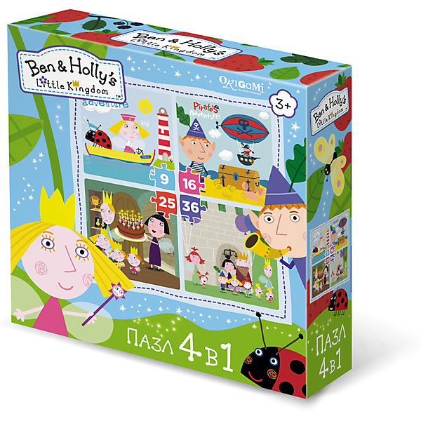 Пазл 4 в 1 Маленькие истории, Бен и Холли, OrigamiПазлы для малышей<br>Пазл 4 в 1 Маленькие истории, Бен и Холли, Origami<br><br>Характеристики:<br><br>• Количество элементов: 360 шт.<br>• Размер упаковки: 18 *6*18 см<br>• Размер готовой картинки: 22 * 22 см<br>• Состав: бумага, картон<br>• Вес: 150 г<br>• Для детей в возрасте: от 3до 5 лет<br><br>Эта игра состоит из 4 наборов пазл: первый состоит из 9 деталей, второй - из 16, третий - из 25 и четвертый состоит из 36 деталей. Ребенок может начать с малого количества деталей, и, если у него получится он может перейти на более высокий уровень. Высококачественный пазл отлично собирается, благодаря хорошо подходящим друг к другу деталям. Вы с легкостью сможете склеить кусочки, превратив пазл в красивую картину, или можете разобрать его и снова собрать позже.<br><br>Пазл 4 в 1 Маленькие истории, Бен и Холли, Origami можно купить в нашем интернет-магазине.<br>Ширина мм: 180; Глубина мм: 60; Высота мм: 180; Вес г: 150; Возраст от месяцев: 36; Возраст до месяцев: 84; Пол: Унисекс; Возраст: Детский; SKU: 5528451;