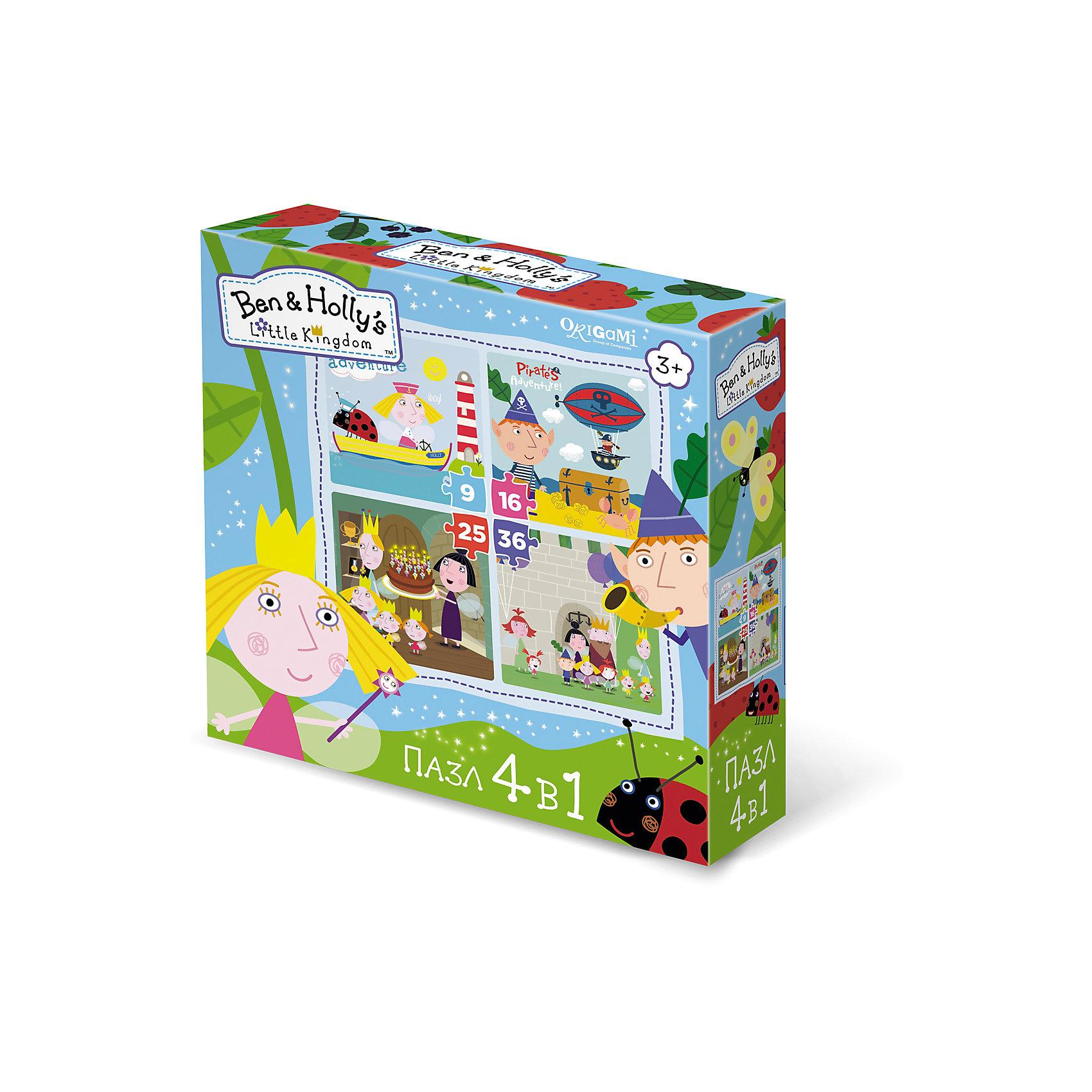 Пазл 4 в 1 Маленькие истории, Бен и Холли, OrigamiПазлы для малышей<br>Пазл 4 в 1 Маленькие истории, Бен и Холли, Origami<br><br>Характеристики:<br><br>• Количество элементов: 360 шт.<br>• Размер упаковки: 18 *6*18 см<br>• Размер готовой картинки: 22 * 22 см<br>• Состав: бумага, картон<br>• Вес: 150 г<br>• Для детей в возрасте: от 3до 5 лет<br><br>Эта игра состоит из 4 наборов пазл: первый состоит из 9 деталей, второй - из 16, третий - из 25 и четвертый состоит из 36 деталей. Ребенок может начать с малого количества деталей, и, если у него получится он может перейти на более высокий уровень. Высококачественный пазл отлично собирается, благодаря хорошо подходящим друг к другу деталям. Вы с легкостью сможете склеить кусочки, превратив пазл в красивую картину, или можете разобрать его и снова собрать позже.<br><br>Пазл 4 в 1 Маленькие истории, Бен и Холли, Origami можно купить в нашем интернет-магазине.<br><br>Ширина мм: 180<br>Глубина мм: 60<br>Высота мм: 180<br>Вес г: 150<br>Возраст от месяцев: 36<br>Возраст до месяцев: 84<br>Пол: Унисекс<br>Возраст: Детский<br>SKU: 5528451