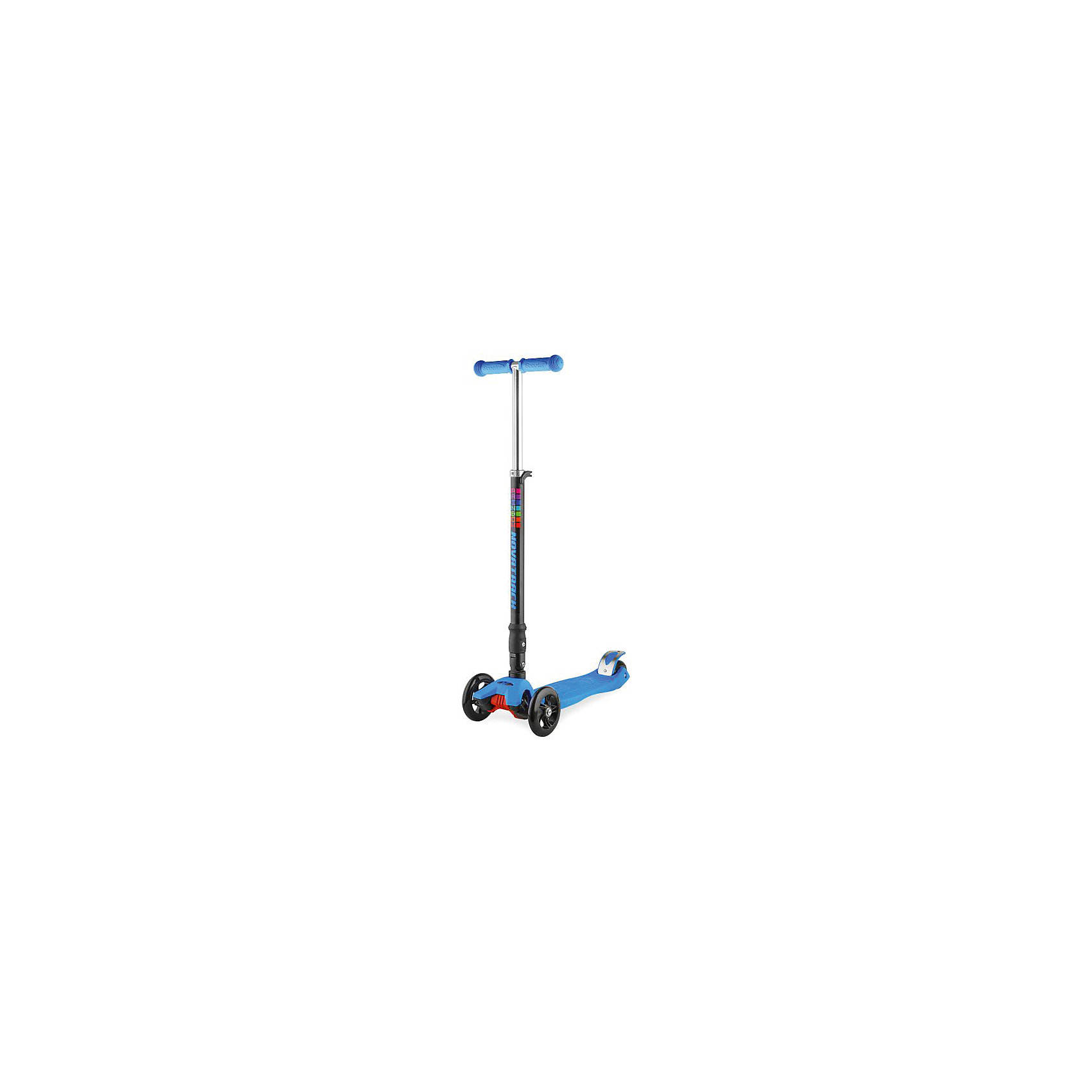 Самокат-кикборд подростковый RainBow, складной, 60 кг, голубой, NovatrackСамокаты<br>Характеристики товара:<br><br>• цвет: голубой<br>• возраст от 3 лет<br>• прорезиненные накладки на руле<br>• максимальная нагрузка до 70 кг<br>• материал: пластик, алюминий<br>• материал колес полиуретан<br>• подшипник АВЕС 7<br>• диаметр передних колес: 12 см<br>• диаметр заднего колеса: 8 см<br>• высота руля 83 см<br>• размер упаковки 60х28х15 см<br>• вес упаковки 3,245 кг<br>• страна производитель: Китай<br><br>Самокат-кикборд подростковый складной, голубой, RainBow Novatrack понравится любителям активного времяпрепровождения на свежем воздухе. Благодаря 2 передним колесам самокат отличается хорошей устойчивостью. Самокат складывается, что позволяет переносить его, брать с собой в поездки и хранить дома, не занимая много места.<br><br>Самокат изготовлен из прочного алюминия, дека выполнена из ударопрочного пластика. Специальные прорезиненные накладки на руле не дают ладошкам соскальзывать во время катания. Подшипник обеспечивает бесшумную и ровную езду.<br><br>Самокат-кикборд подростковый складной, голубой, RainBow Novatrack  можно приобрести в нашем интернет-магазине.<br><br>Ширина мм: 600<br>Глубина мм: 150<br>Высота мм: 280<br>Вес г: 3245<br>Возраст от месяцев: 36<br>Возраст до месяцев: 2147483647<br>Пол: Унисекс<br>Возраст: Детский<br>SKU: 5528452