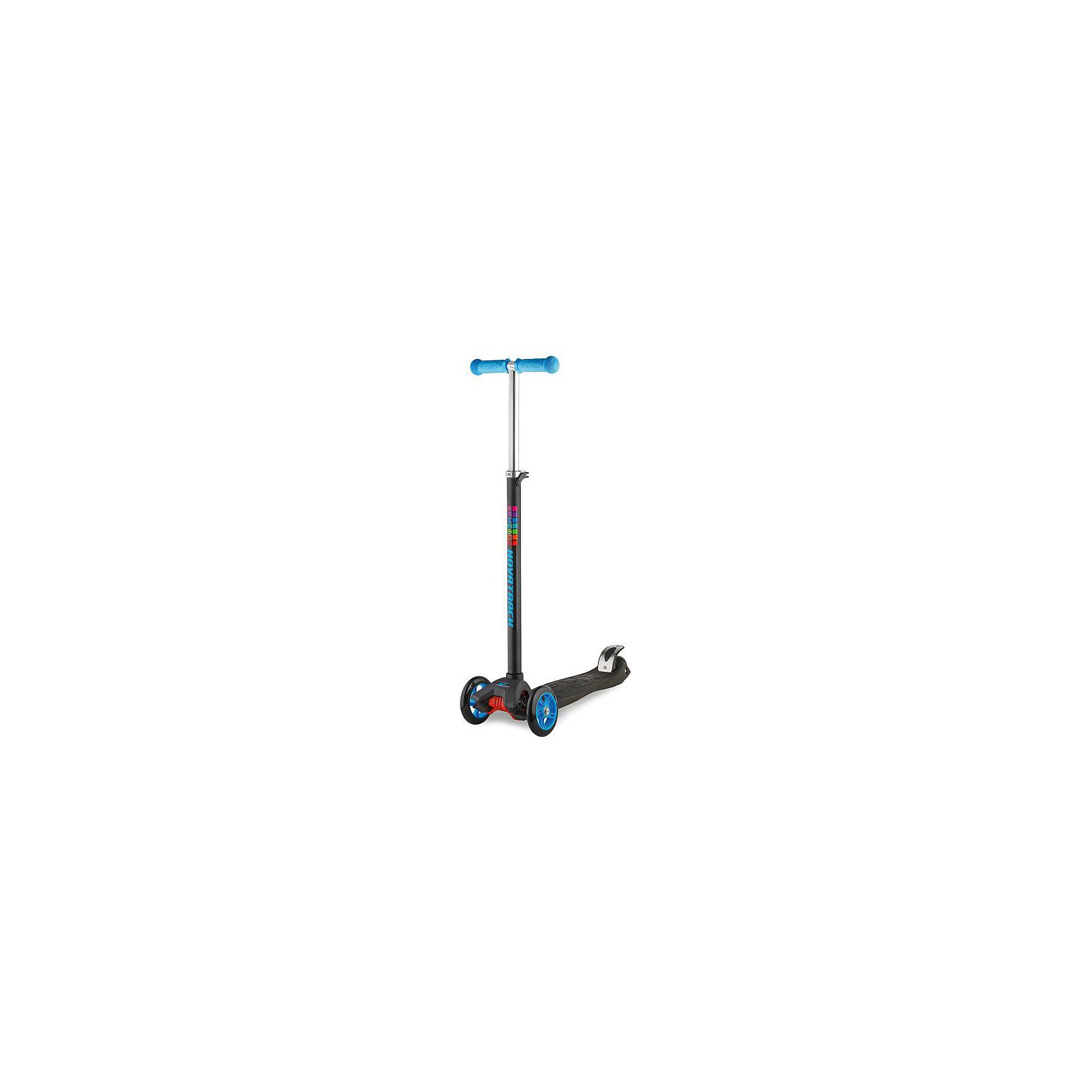 Самокат-кикборд подростковый RainBow, 60 кг, голубой, NovatrackСамокаты<br>Характеристики товара:<br><br>• цвет: голубой<br>• возраст от 3 лет<br>• максимальная нагрузка до 60 кг<br>• материал: пластик, алюминий<br>• материал колес полиуретан<br>• высота руля: 53-65 см<br>• подшипник АВЕС 7<br>• диаметр передних колес: 12 см<br>• диаметр заднего колеса: 8 см<br>• задний ножной тормоз<br>• прорезиненные накладки на руле<br>• бесшумная езда<br>• размер упаковки 60х28х15 см<br>• вес упаковки 3 кг<br>• страна производитель: Китай<br><br>Самокат-кикборд подростковый, голубой, RainBow Novatrack понравится любителям активного времяпрепровождения на свежем воздухе. Благодаря 2 передним колесам самокат отличается хорошей устойчивостью. <br><br>Самокат изготовлен из прочного алюминия, дека выполнена из ударопрочного пластика. Специальные прорезиненные накладки на руле не дают ладошкам соскальзывать во время катания. Подшипник обеспечивает бесшумную и ровную езду. Ножной тормоз гарантирует быстрое торможение перед препятствием.<br><br>Самокат-кикборд подростковый, голубой, RainBow Novatrack  можно приобрести в нашем интернет-магазине.<br><br>Ширина мм: 600<br>Глубина мм: 150<br>Высота мм: 280<br>Вес г: 3000<br>Возраст от месяцев: 36<br>Возраст до месяцев: 2147483647<br>Пол: Унисекс<br>Возраст: Детский<br>SKU: 5528458