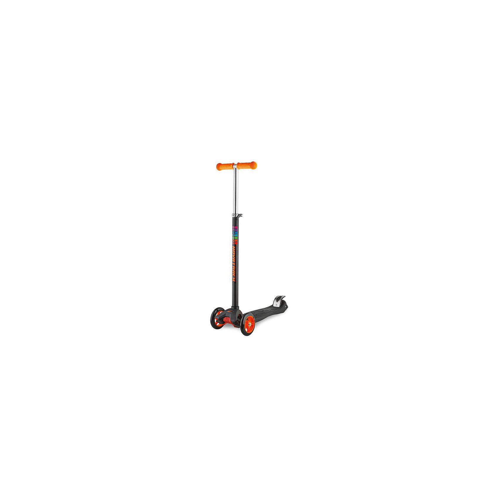 Самокат-кикборд подростковый RainBow, 60 кг, оранжевый, NovatrackСамокаты<br>Характеристики товара:<br><br>• цвет: оранжевый<br>• возраст от 3 лет<br>• максимальная нагрузка до 60 кг<br>• материал: пластик, алюминий<br>• материал колес полиуретан<br>• высота руля: 53-65 см<br>• подшипник АВЕС 7<br>• диаметр передних колес: 12 см<br>• диаметр заднего колеса: 8 см<br>• задний ножной тормоз<br>• прорезиненные накладки на руле<br>• бесшумная езда<br>• размер упаковки 60х28х15 см<br>• вес упаковки 3 кг<br>• страна производитель: Китай<br><br>Самокат-кикборд подростковый, голубой, RainBow Novatrack понравится любителям активного времяпрепровождения на свежем воздухе. Благодаря 2 передним колесам самокат отличается хорошей устойчивостью. <br><br>Самокат изготовлен из прочного алюминия, дека выполнена из ударопрочного пластика. Специальные прорезиненные накладки на руле не дают ладошкам соскальзывать во время катания. Подшипник обеспечивает бесшумную и ровную езду. Ножной тормоз гарантирует быстрое торможение перед препятствием.<br><br>Самокат-кикборд подростковый, голубой, RainBow Novatrack  можно приобрести в нашем интернет-магазине.<br><br>Ширина мм: 600<br>Глубина мм: 150<br>Высота мм: 280<br>Вес г: 2970<br>Возраст от месяцев: 36<br>Возраст до месяцев: 2147483647<br>Пол: Унисекс<br>Возраст: Детский<br>SKU: 5528460