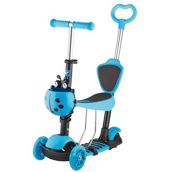 Самокат-кикборд детский трансформер Disco-kids, 40 кг, голубой, Novatrack