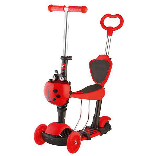 Самокат-кикборд детский трансформер Disco-kids, 40 кг, красный, NovatrackСамокаты<br>Характеристики товара:<br><br>• цвет: красный<br>• возраст от 2 до 5 лет<br>• трансформер: самокат, беговел, каталка с ручкой<br>• колеса светятся и мигают разными цветами во время движения<br>• максимальная нагрузка до 40 кг<br>• материал: металл, пластик<br>• материал колес полиуретан<br>• диаметр передних колес 12 см<br>• диаметр заднего колеса: 8 см<br>• подшипник АВЕС 5<br>• высота руля: от 50 см до 72 см (регулируется)<br>• прорезиненные ручки на руле<br>• к родительской ручке на нужной высоте крепится спинка, чтобы малышу было удобно<br>• заднее крыло выполняет функцию тормоза<br>• руль, сидение и родительская ручка регулируются по высоте<br>• дополнен корзиной в виде божьей коровки<br>• вес самоката 3,5 кг<br>• размер упаковки 56х15х27 см<br>• вес упаковки 4,2 кг<br>• страна производитель: Китай<br><br>Самокат-кикборд трансформер, голубой, Disco-Kids Novatrack сочетает в себе 2 функции. Для детей помладше он используется как беговел с удобным сидением и родительской ручкой. Дети могут перемещаться самостоятельно, отталкиваясь ножками. Родители же могут помогать и контролировать движения малыша, поддерживая беговел за ручку. На руль крепится корзинка для игрушек и мелочей.<br><br>Ручка и сидение убираются, и беговел трансформируется в самокат. Катаясь на самокате, ребенок учится держать равновесие. Полиуретановые колеса не изнашиваются и не стираются во временем. Прорезиненные накладки на ручках руля не дают ладоням соскальзывать во время движения. Рама выполнена из прочного металла.<br><br>Самокат-кикборд трансформер, голубой, Disco-Kids Novatrack можно приобрести в нашем интернет-магазине.<br>Ширина мм: 560; Глубина мм: 150; Высота мм: 270; Вес г: 4200; Возраст от месяцев: 24; Возраст до месяцев: 2147483647; Пол: Унисекс; Возраст: Детский; SKU: 5528462;