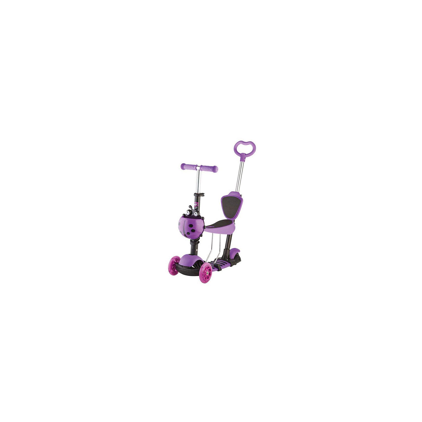 Самокат-кикборд детский трансформер Disco-kids, 40 кг, фиолетовый, NovatrackСамокаты<br>Характеристики товара:<br><br>• цвет: фиолетовый<br>• возраст от 2 до 5 лет<br>• трансформер: самокат, беговел, каталка с ручкой<br>• колеса светятся и мигают разными цветами во время движения<br>• максимальная нагрузка до 40 кг<br>• материал: металл, пластик<br>• материал колес полиуретан<br>• диаметр передних колес 12 см<br>• диаметр заднего колеса: 8 см<br>• подшипник АВЕС 5<br>• высота руля: от 50 см до 72 см (регулируется)<br>• прорезиненные ручки на руле<br>• к родительской ручке на нужной высоте крепится спинка, чтобы малышу было удобно<br>• заднее крыло выполняет функцию тормоза<br>• руль, сидение и родительская ручка регулируются по высоте<br>• дополнен корзиной в виде божьей коровки<br>• вес самоката 3,5 кг<br>• размер упаковки 56х15х27 см<br>• вес упаковки 4,2 кг<br>• страна производитель: Китай<br><br>Самокат-кикборд трансформер, голубой, Disco-Kids Novatrack сочетает в себе 2 функции. Для детей помладше он используется как беговел с удобным сидением и родительской ручкой. Дети могут перемещаться самостоятельно, отталкиваясь ножками. Родители же могут помогать и контролировать движения малыша, поддерживая беговел за ручку. На руль крепится корзинка для игрушек и мелочей.<br><br>Ручка и сидение убираются, и беговел трансформируется в самокат. Катаясь на самокате, ребенок учится держать равновесие. Полиуретановые колеса не изнашиваются и не стираются во временем. Прорезиненные накладки на ручках руля не дают ладоням соскальзывать во время движения. Рама выполнена из прочного металла.<br><br>Самокат-кикборд трансформер, голубой, Disco-Kids Novatrack можно приобрести в нашем интернет-магазине.<br><br>Ширина мм: 560<br>Глубина мм: 150<br>Высота мм: 270<br>Вес г: 4200<br>Возраст от месяцев: 24<br>Возраст до месяцев: 2147483647<br>Пол: Унисекс<br>Возраст: Детский<br>SKU: 5528463