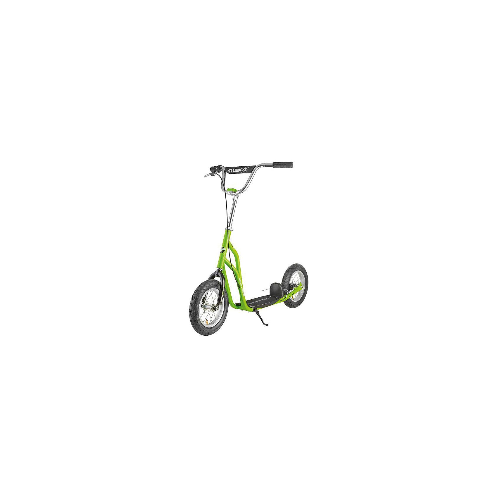 Самокат внедорожный STAMP N1, 100 кг, зеленый, NovatrackСамокаты<br>Характеристики товара:<br><br>• цвет: зелёный<br>• возраст от 8 лет<br>• максимальная нагрузка до 100 кг<br>• материал: алюминий<br>• диаметр колес 12 дюймов (30,5 см)<br>• руль регулируется по высоте: 84 - 100 см<br>• размер платформы: 33*15 см<br>• платформа оснащена подножкой<br>• тип колес: надувные<br>• тормоз: задний<br>• размер упаковки 90х60х20 см<br>• вес упаковки 8,1 кг<br>• страна производитель: Китай<br><br>Самокат внедорожный STAMP N1 Novatrack черный обязательно понравится юным райдерам. Он напоминает небольшой велосипед с большими колесами. Самокат едет не только по городским улочкам, но и без труда преодолевает ухабистую местность и лесные тропинки. Благодаря большим надувным колесам достигается ровная и бесшумная езда. <br><br>Самокат оснащен задними тормозами для быстрого торможения перед препятствием или на спуске с горки. Подножка фиксирует самокат в вертикальном положении во время остановки. Рама выполнена из прочного алюминия, покрытого специальным антикоррозийным покрытием. Размер деки позволяет ставить на нее сразу две ноги. <br><br>Самокат внедорожный STAMP N1 Novatrack черный можно приобрести в нашем интернет-магазине.<br><br>Ширина мм: 900<br>Глубина мм: 200<br>Высота мм: 600<br>Вес г: 8111<br>Возраст от месяцев: 72<br>Возраст до месяцев: 2147483647<br>Пол: Унисекс<br>Возраст: Детский<br>SKU: 5528465