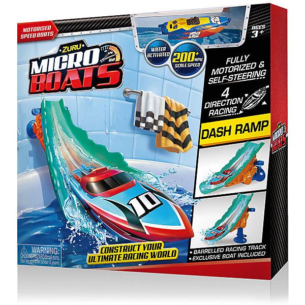 Набор Роболодка с трамплином, MICROBOATS, ZuruРоборыбки<br>Характеристики товара:<br><br>• возраст от 3 лет<br>• материал: пластик<br>• в комплекте: лодка, трамплин<br>• тип батареек: 2 алкалиновых батарейки А76 или RL44<br>• наличие батареек: входят в комплект (вставлены в игрушку)<br>• размер упаковки 30х30х8 см<br>• вес упаковки 380 г.<br>• страна бренда: Новая Зеландия<br>• страна производитель: Китай<br><br>Набор «Роболодка с трамплином» Microboats Zuru — сделает процесс купания веселым и увлекательным. При спуске с трамплина на воду лодочка начинает плыть. Она оснащена специальным сенсорным датчиком. Который реагирует на воду. Лодка умеет плавать в 4 разных направлениях, а при столкновении с препятствием начинает плыть назад. Малыш может брать лодку в собой не только в ванную, но и запускать ее в бассейне или водоеме, чтобы весело провести время. <br><br>На трамплине имеется присоска, чтобы крепить его на поверхность. Игрушка изготовлена из качественного безопасного пластика с использованием нетоксичных красителей. Работает от 2 батареек LR44 (в комплекте).<br><br>Набор «Роболодка с трамплином» Microboats Zuru можно приобрести в нашем интернет-магазине.<br><br>Ширина мм: 800<br>Глубина мм: 300<br>Высота мм: 300<br>Вес г: 380<br>Возраст от месяцев: 36<br>Возраст до месяцев: 2147483647<br>Пол: Унисекс<br>Возраст: Детский<br>SKU: 5528474