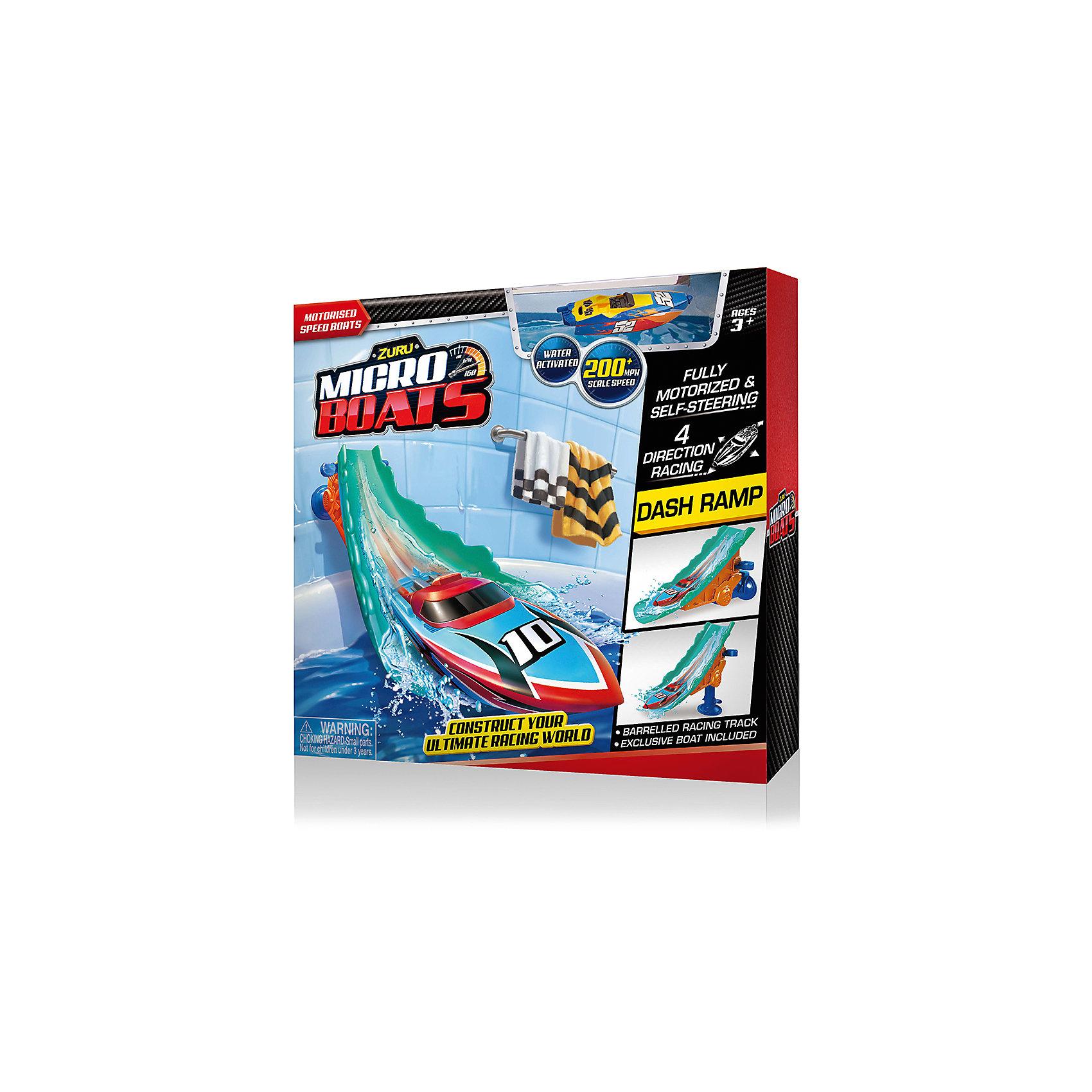 Набор Роболодка с трамплином, MICROBOATS, ZuruЗаводные игрушки<br>Характеристики товара:<br><br>• возраст от 3 лет<br>• материал: пластик<br>• в комплекте: лодка, трамплин<br>• тип батареек: 2 алкалиновых батарейки А76 или RL44<br>• наличие батареек: входят в комплект (вставлены в игрушку)<br>• размер упаковки 30х30х8 см<br>• вес упаковки 380 г.<br>• страна бренда: Новая Зеландия<br>• страна производитель: Китай<br><br>Набор «Роболодка с трамплином» Microboats Zuru — сделает процесс купания веселым и увлекательным. При спуске с трамплина на воду лодочка начинает плыть. Она оснащена специальным сенсорным датчиком. Который реагирует на воду. Лодка умеет плавать в 4 разных направлениях, а при столкновении с препятствием начинает плыть назад. Малыш может брать лодку в собой не только в ванную, но и запускать ее в бассейне или водоеме, чтобы весело провести время. <br><br>На трамплине имеется присоска, чтобы крепить его на поверхность. Игрушка изготовлена из качественного безопасного пластика с использованием нетоксичных красителей. Работает от 2 батареек LR44 (в комплекте).<br><br>Набор «Роболодка с трамплином» Microboats Zuru можно приобрести в нашем интернет-магазине.<br><br>Ширина мм: 800<br>Глубина мм: 300<br>Высота мм: 300<br>Вес г: 380<br>Возраст от месяцев: 36<br>Возраст до месяцев: 2147483647<br>Пол: Унисекс<br>Возраст: Детский<br>SKU: 5528474