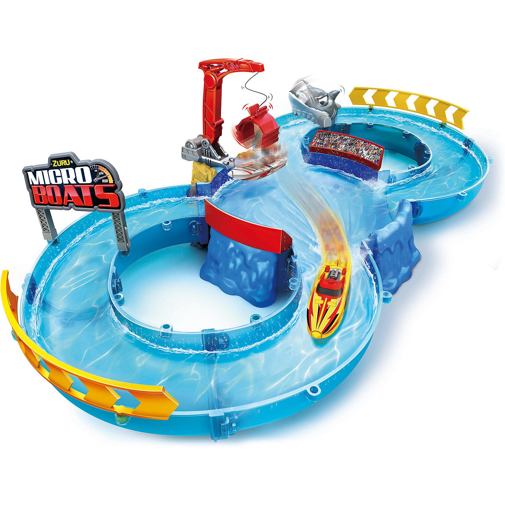 Набор Роболодка с треком, MICROBOATS, ZuruЗаводные игрушки<br>Характеристики товара:<br><br>• возраст от 3 лет<br>• материал: пластик<br>• в комплекте: лодка, трек, подъемник для лодок, акула<br>• размер роболодки: 7.5 см<br>• тип батареек: 2 х AG13 / LR44 (миниатюрные)<br>• наличие батареек: входят в комплект<br>• размер упаковки 35х60х8 см<br>• вес упаковки 960 г.<br>• страна бренда: Новая Зеландия<br>• страна производитель: Китай<br><br>Набор «Роболодка с треком» Microboats Zuru — увлекательная игрушка, которая позволит устроить захватывающие гонки на воде. Специальным подъемником лодка поднимается на трек и спускается на воду. При соприкосновении с водой срабатывает сенсорный датчик, и лодочка начинает плыть. Она может плавать в 4 направлениях, а при встрече с препятствием плывет назад. На трассе лодку ждет опасная акула, которая хочет поймать ее.  <br><br>Игрушка изготовлена из качественного безопасного пластика с использованием нетоксичных красителей. Работает от 2 батареек LR44 (в комплекте).<br><br>Набор «Роболодка с треком» Microboats Zuru можно приобрести в нашем интернет-магазине.<br><br>Ширина мм: 800<br>Глубина мм: 600<br>Высота мм: 350<br>Вес г: 960<br>Возраст от месяцев: 36<br>Возраст до месяцев: 2147483647<br>Пол: Унисекс<br>Возраст: Детский<br>SKU: 5528475